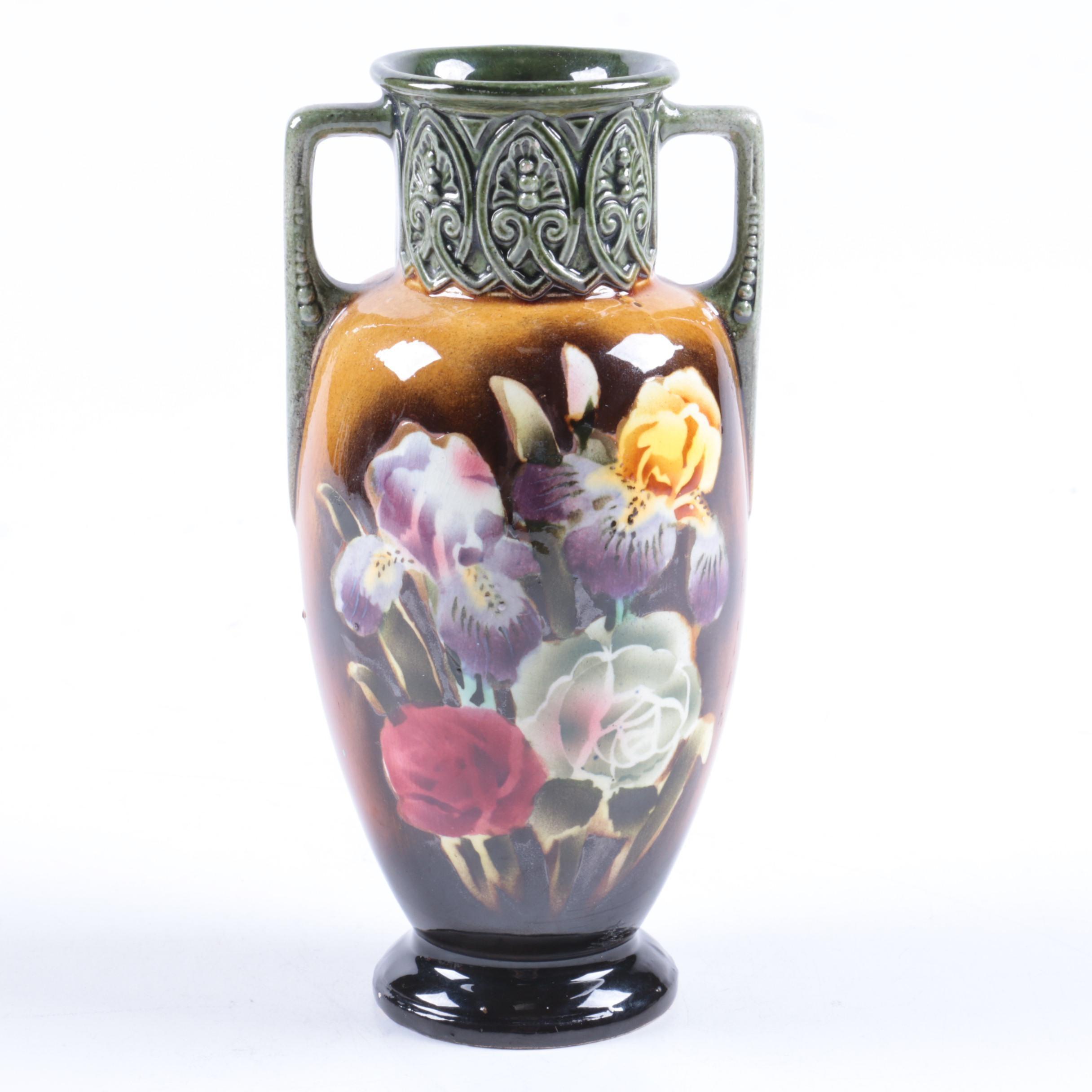 Czechoslovakian Floral Themed Ceramic Vase