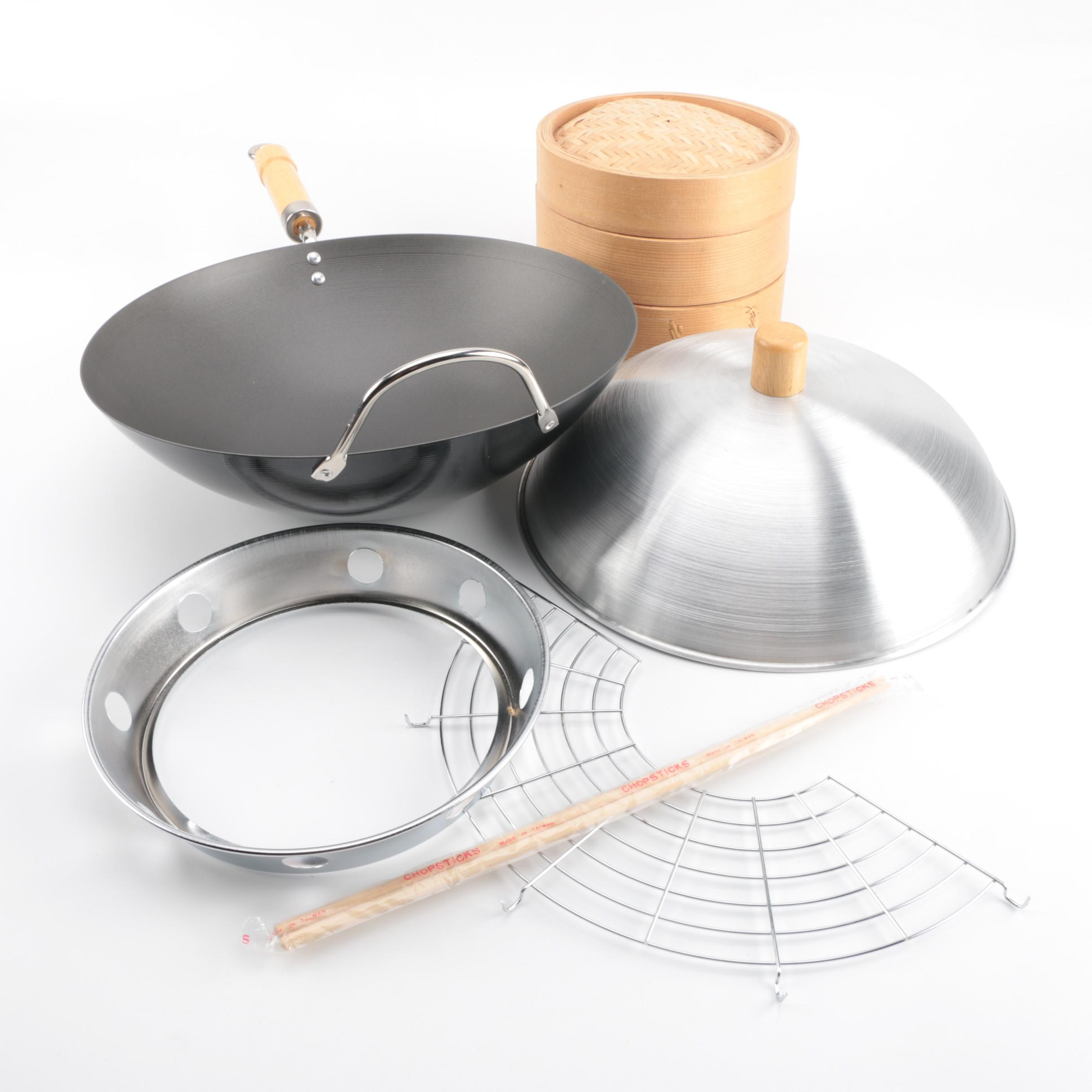 Wok Set and Bamboo Steamer
