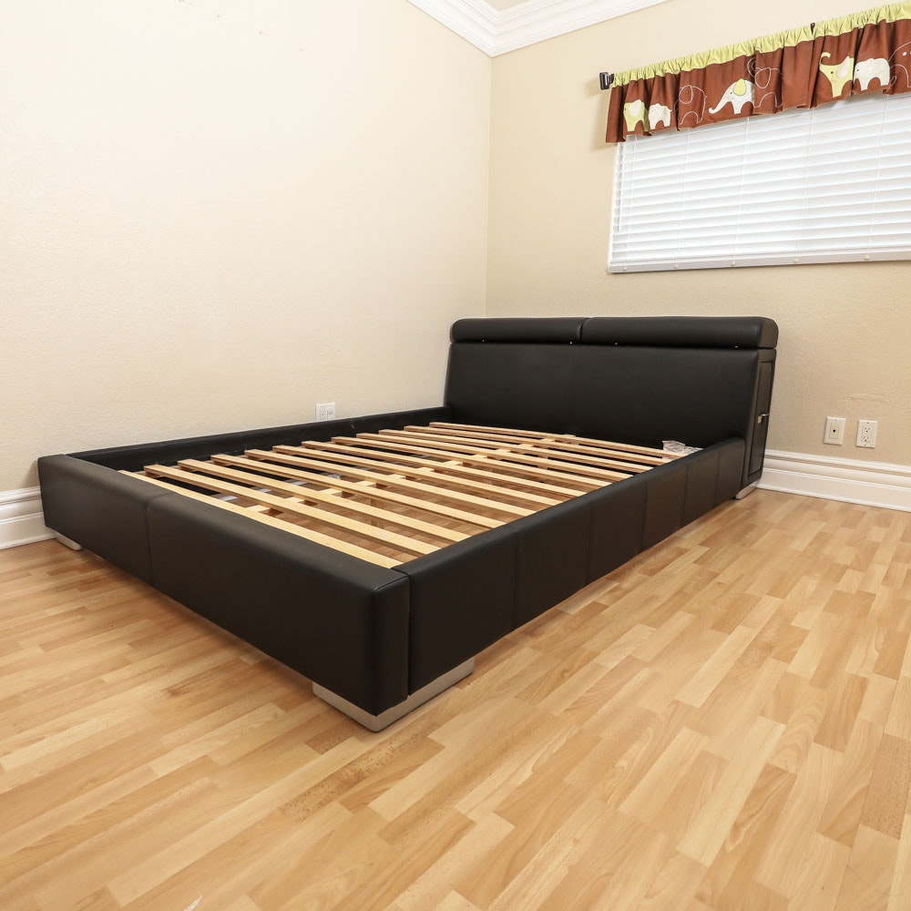 Black Upholstered Queen-Size Bed Frame