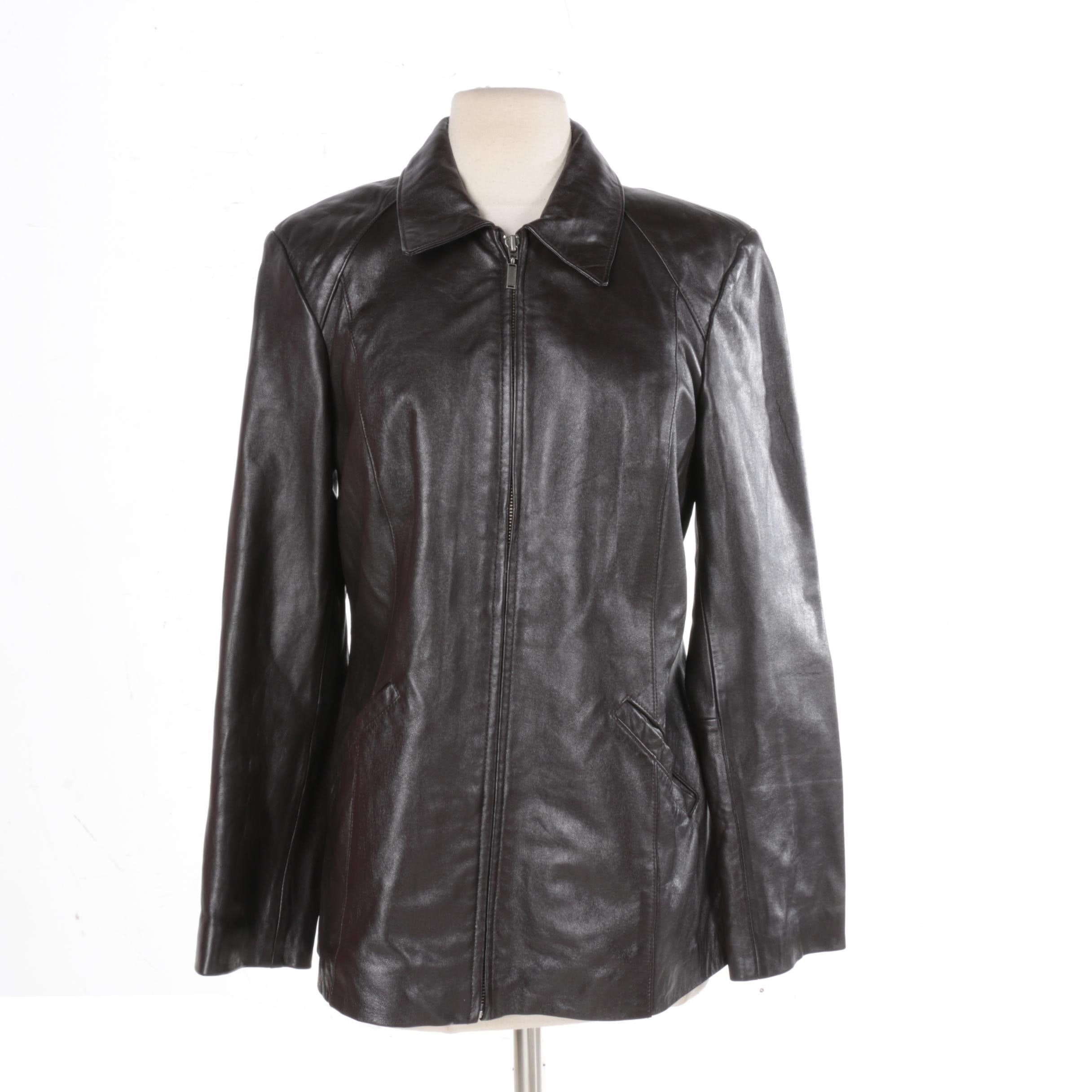 Women's Alfani Black Leather Jacket