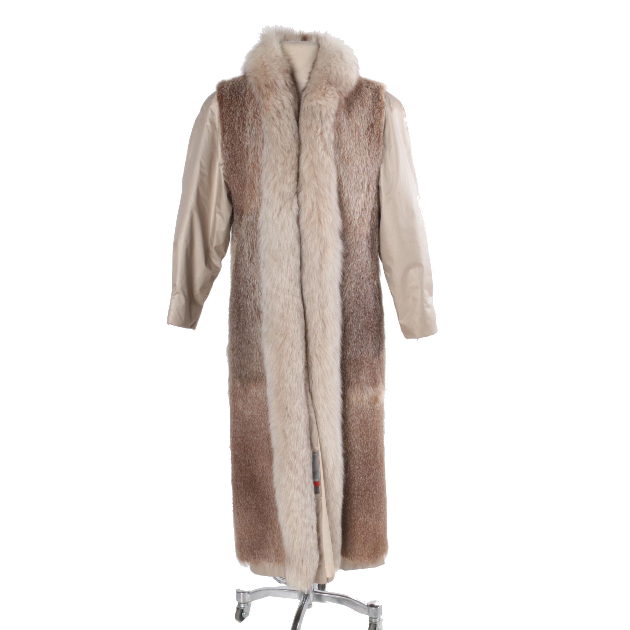 Women's Carol Cohen Drizzle Nutria and Fox Fur Coat Vest