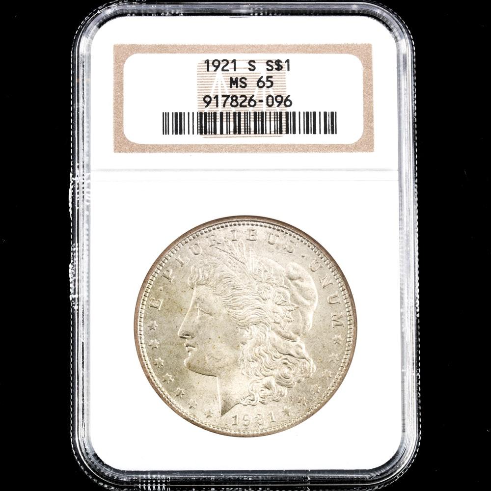 NGC Graded MS65 1921 S Morgan Silver Dollar