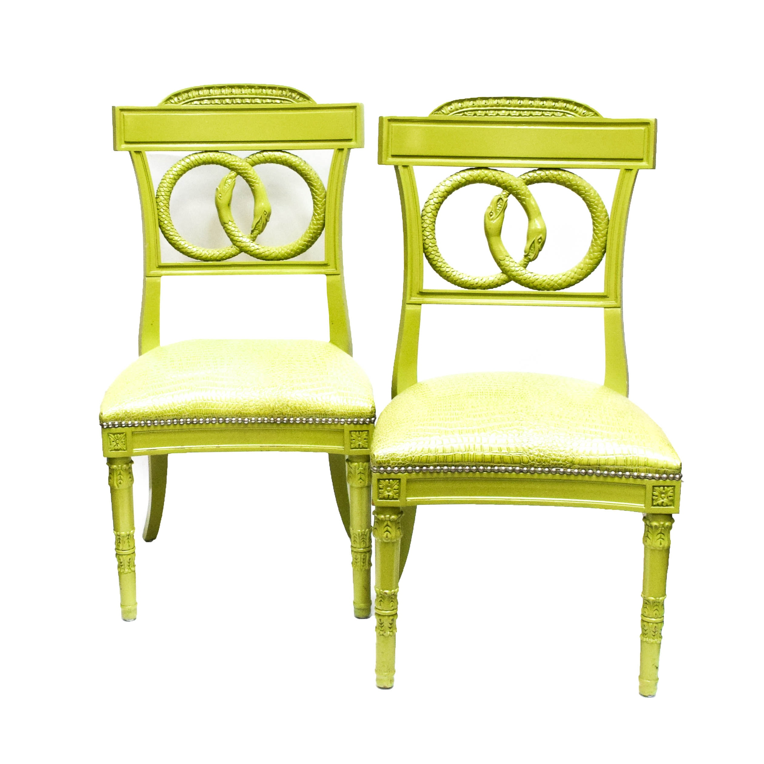 Pair of Painted Chartreuse Regency Style Chairs