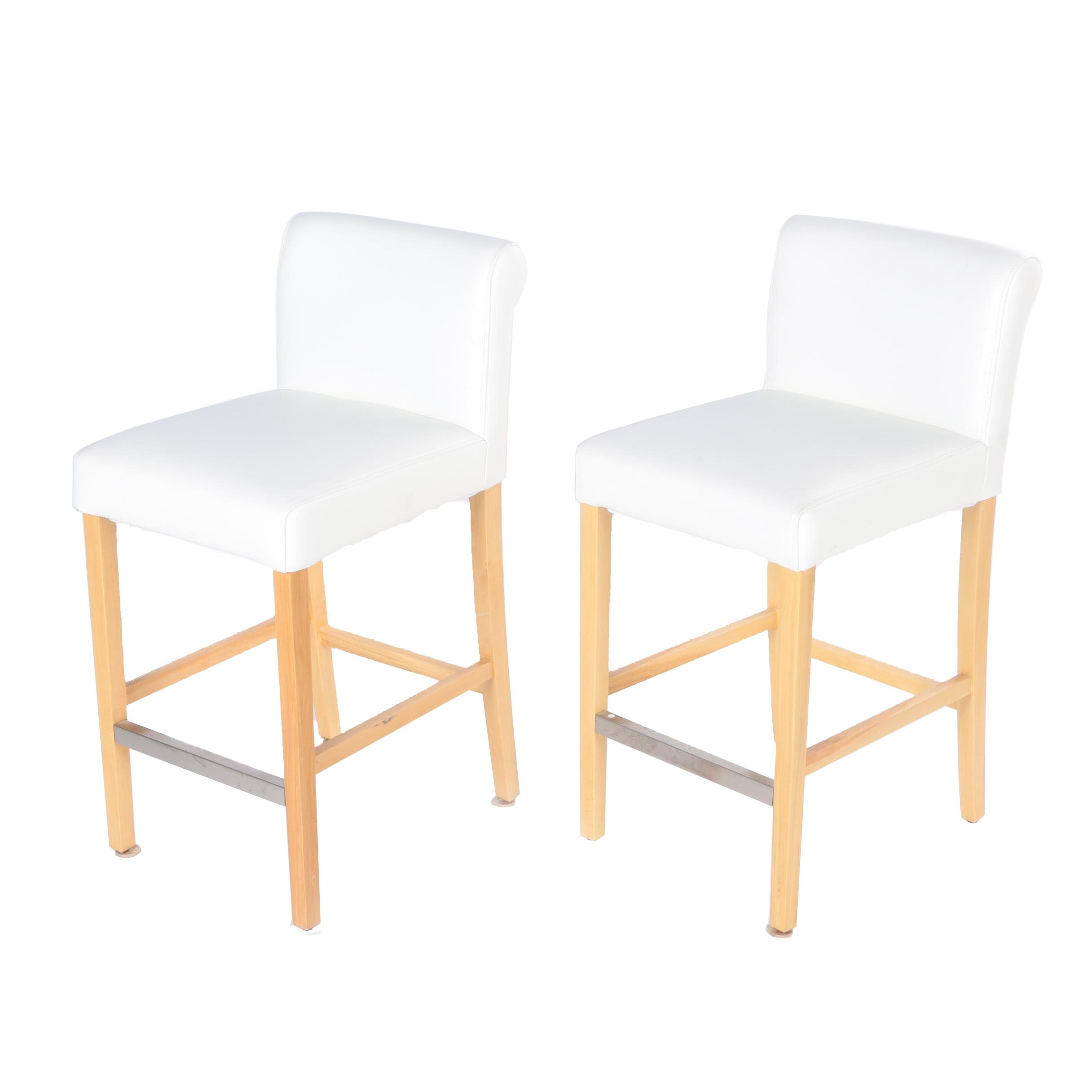 Pair of White Upholstered Counter Stools