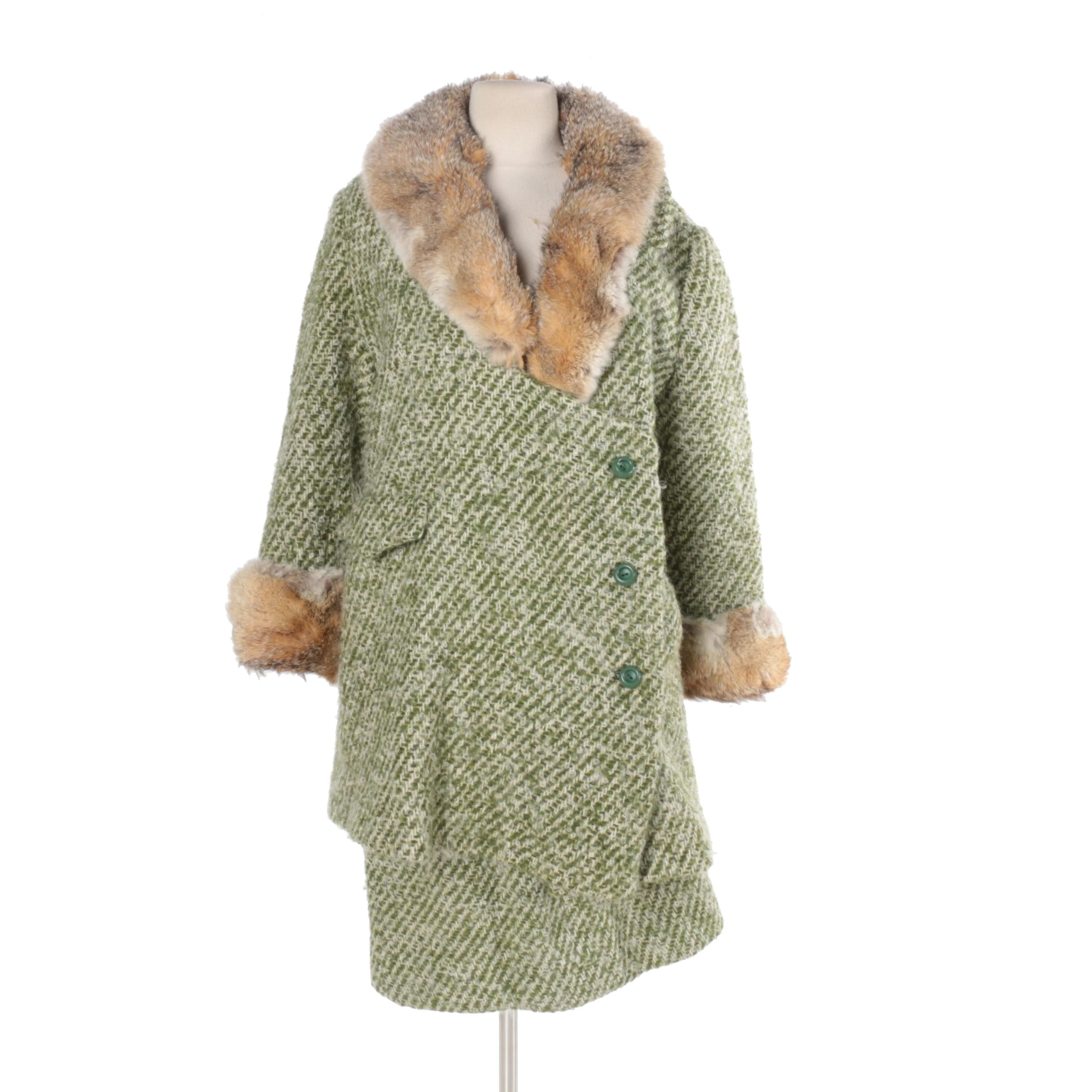 Vintage Green Wool Coat with Rabbit Fur Trim and Skirt