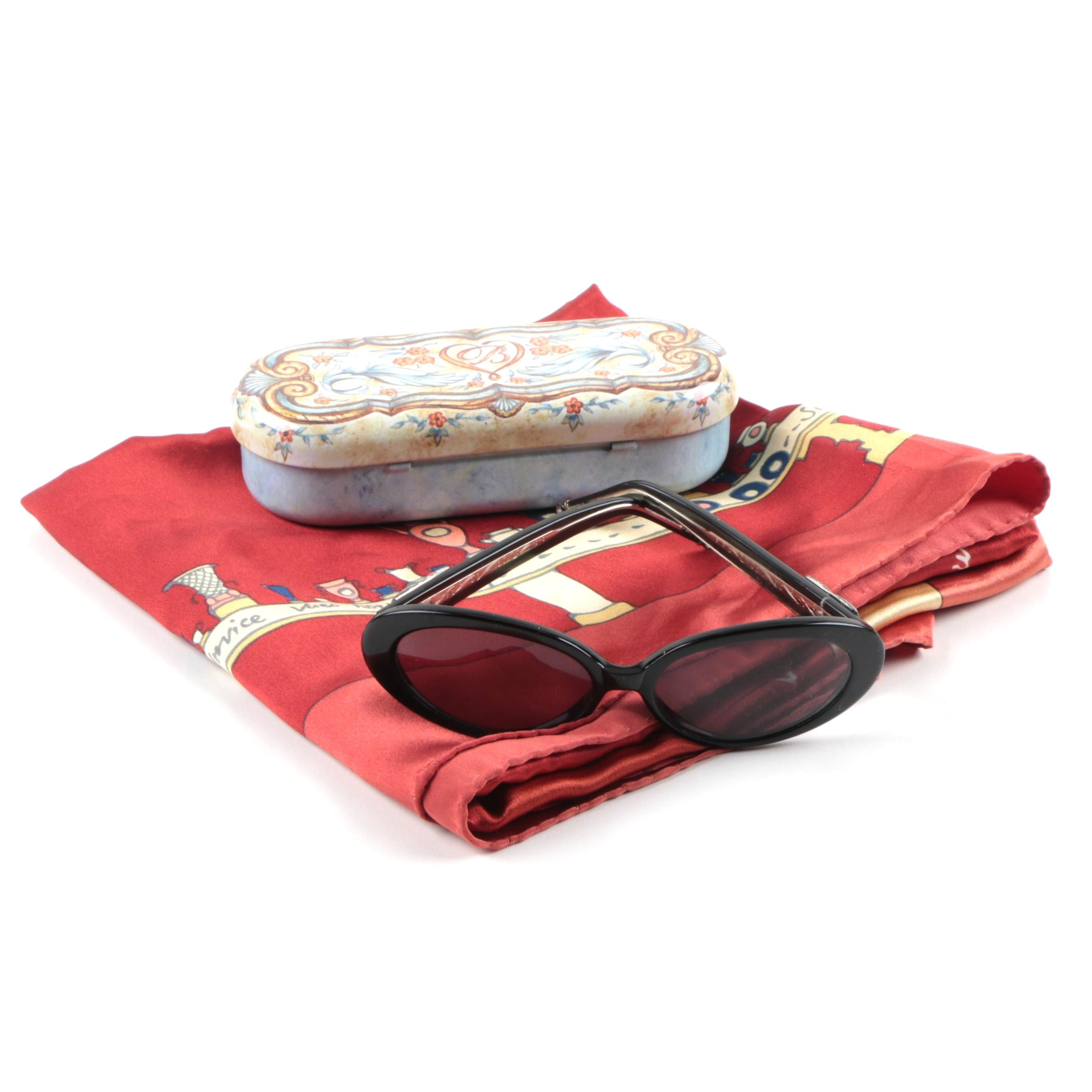 Brighton Sunglasses and Reunion des Musee Nationaux Silk Scarf