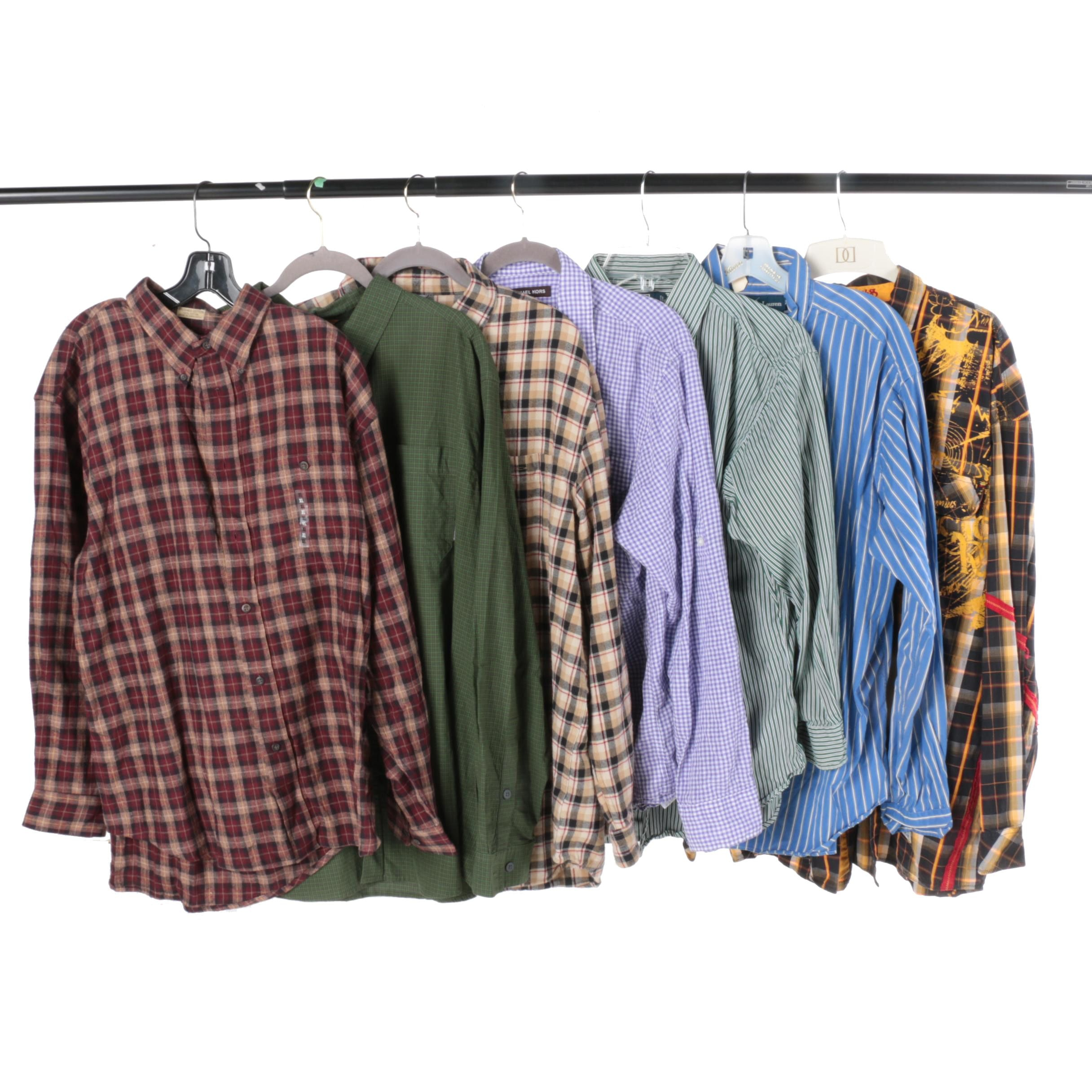 Men's Button-Down and Button-Up Shirts Including Ralph Lauren and Michael Kors