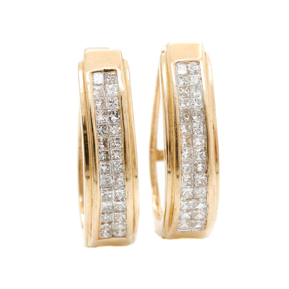 14K Yellow Gold 1.05 CTW Diamond Hoop Earrings