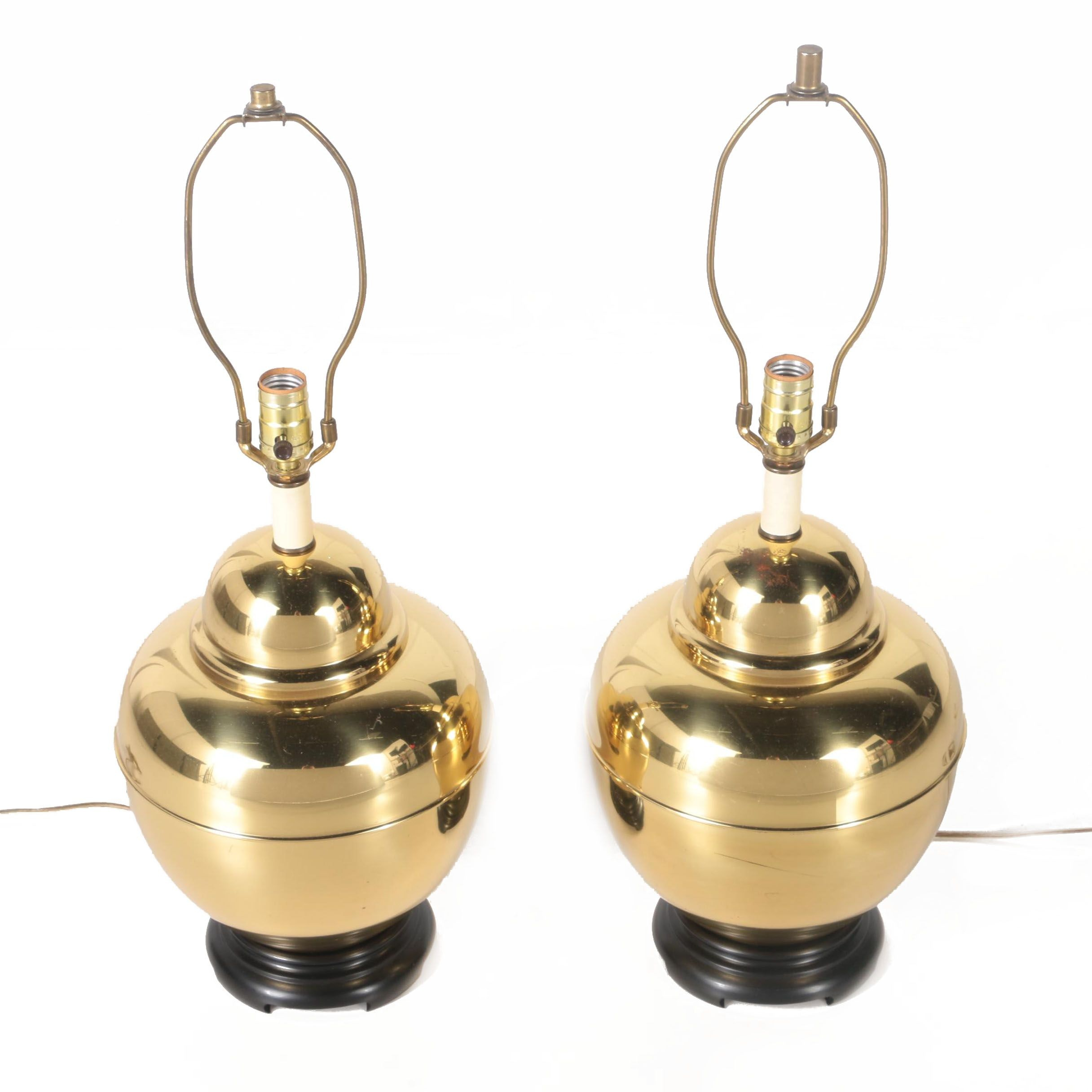 Gold Tone  Ginger Jar Table Lamps