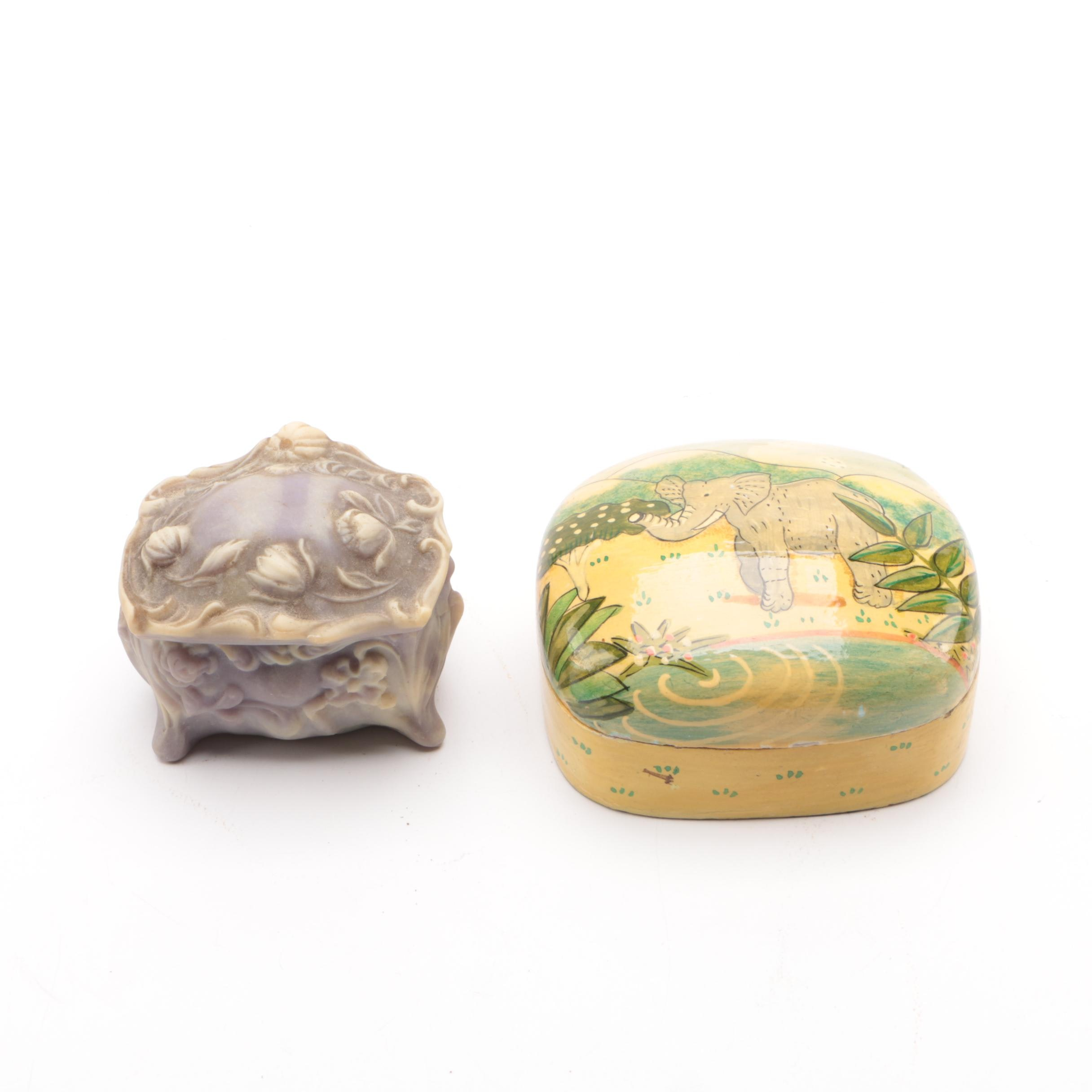 Decorative Trinket Boxes Including Incolay Stone