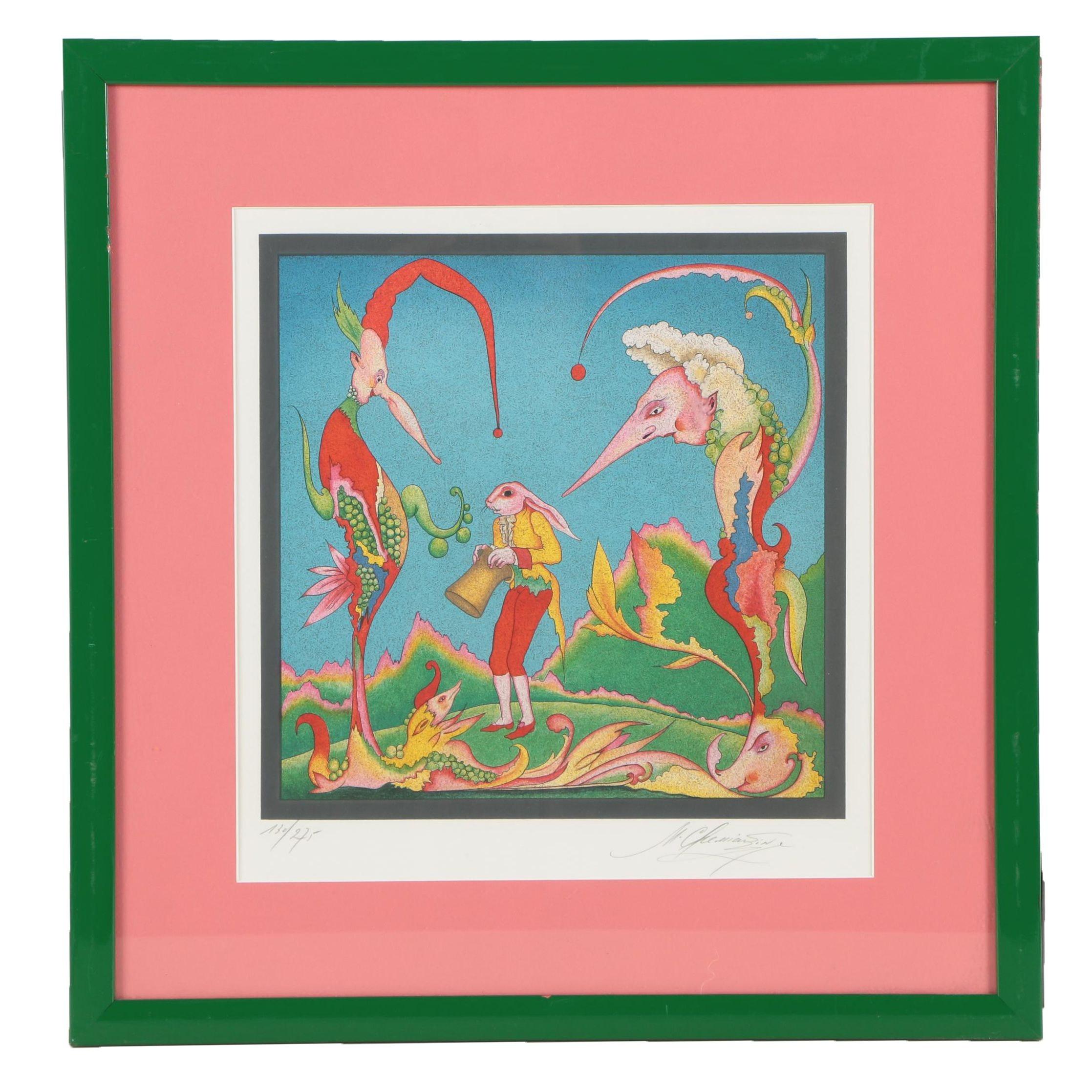 """Mihail Chemiakin Color Lithograph """"Suite Carnaval de Saint Petersbourg No. 10"""""""