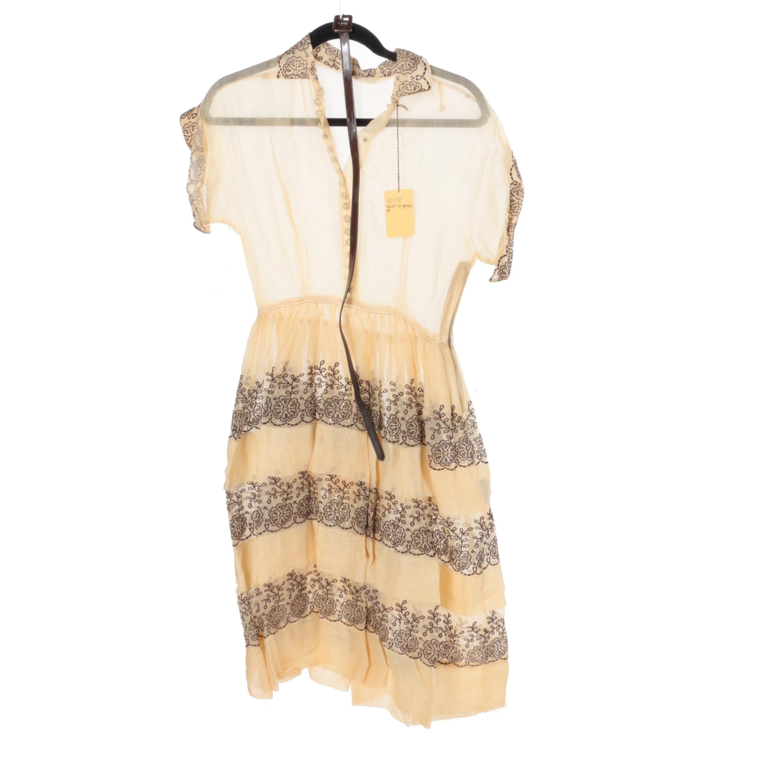 Circa 1950s Embroidered Shirtwaist Dress