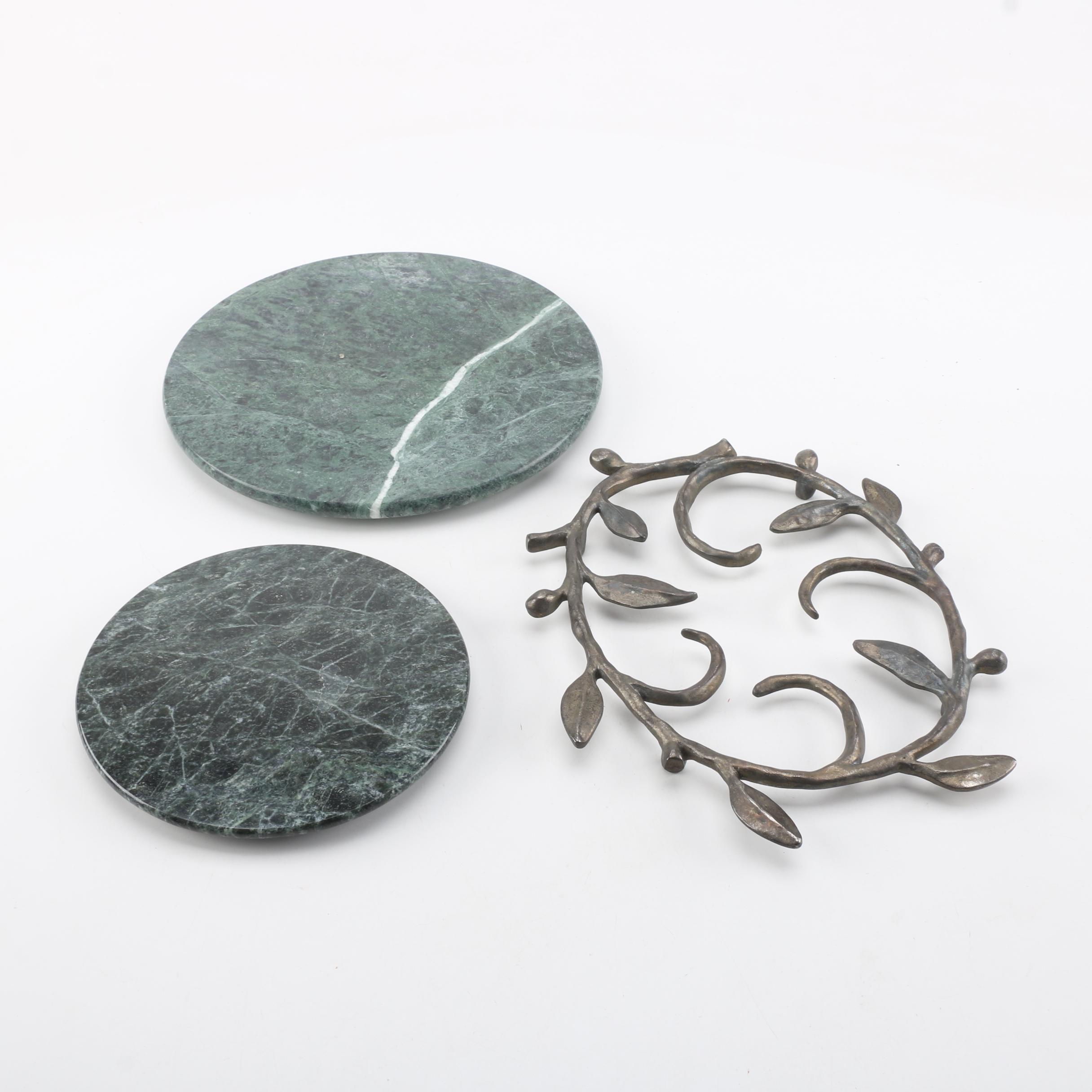 Michael Aram Openwork Vine Trivet with Green Marble Trivets