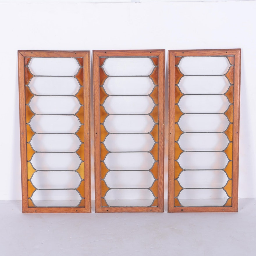 Wood Framed Windows with Colored Glass : EBTH