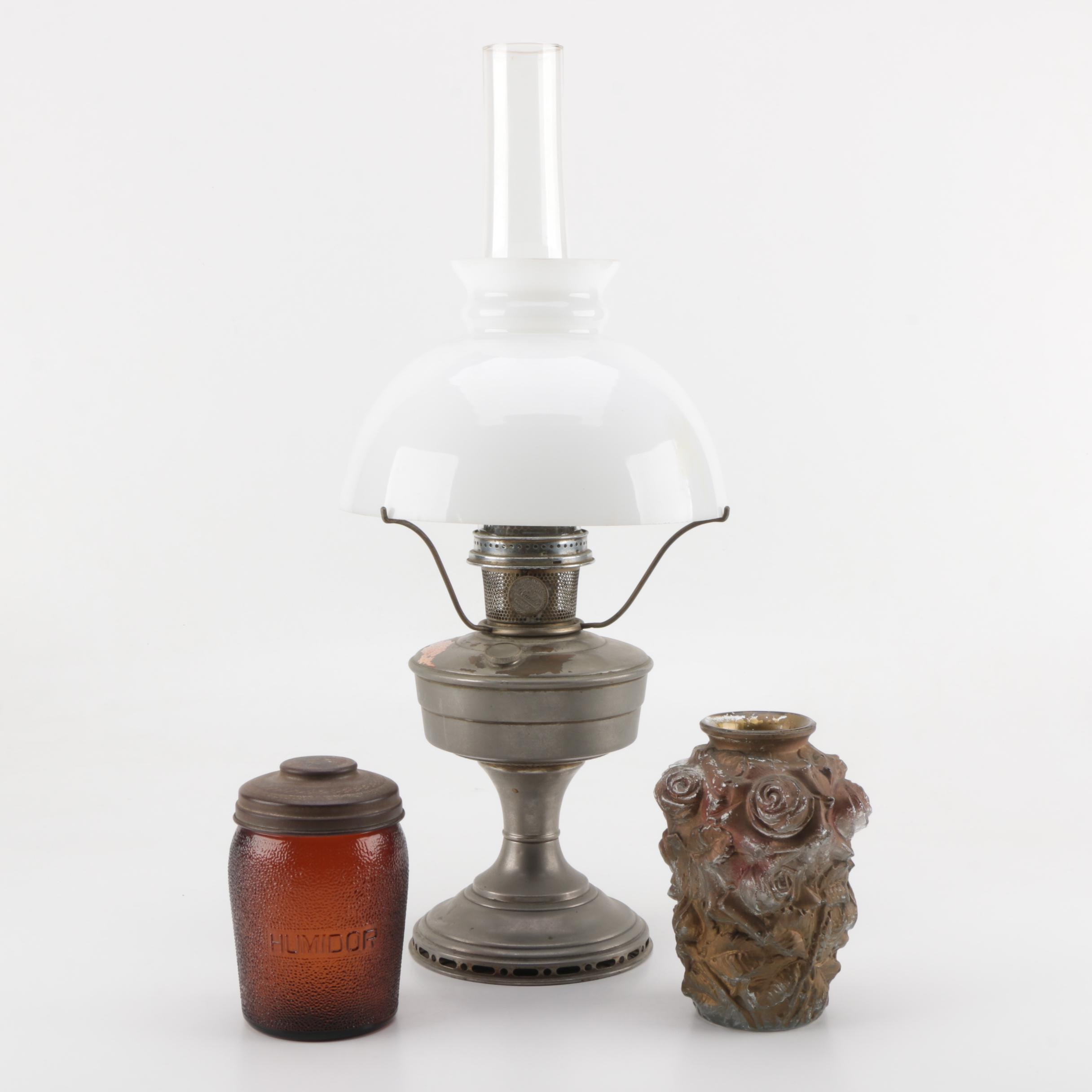 Aladdin Industries Model 12 Oil Lamp with Glass Vase and Humidor