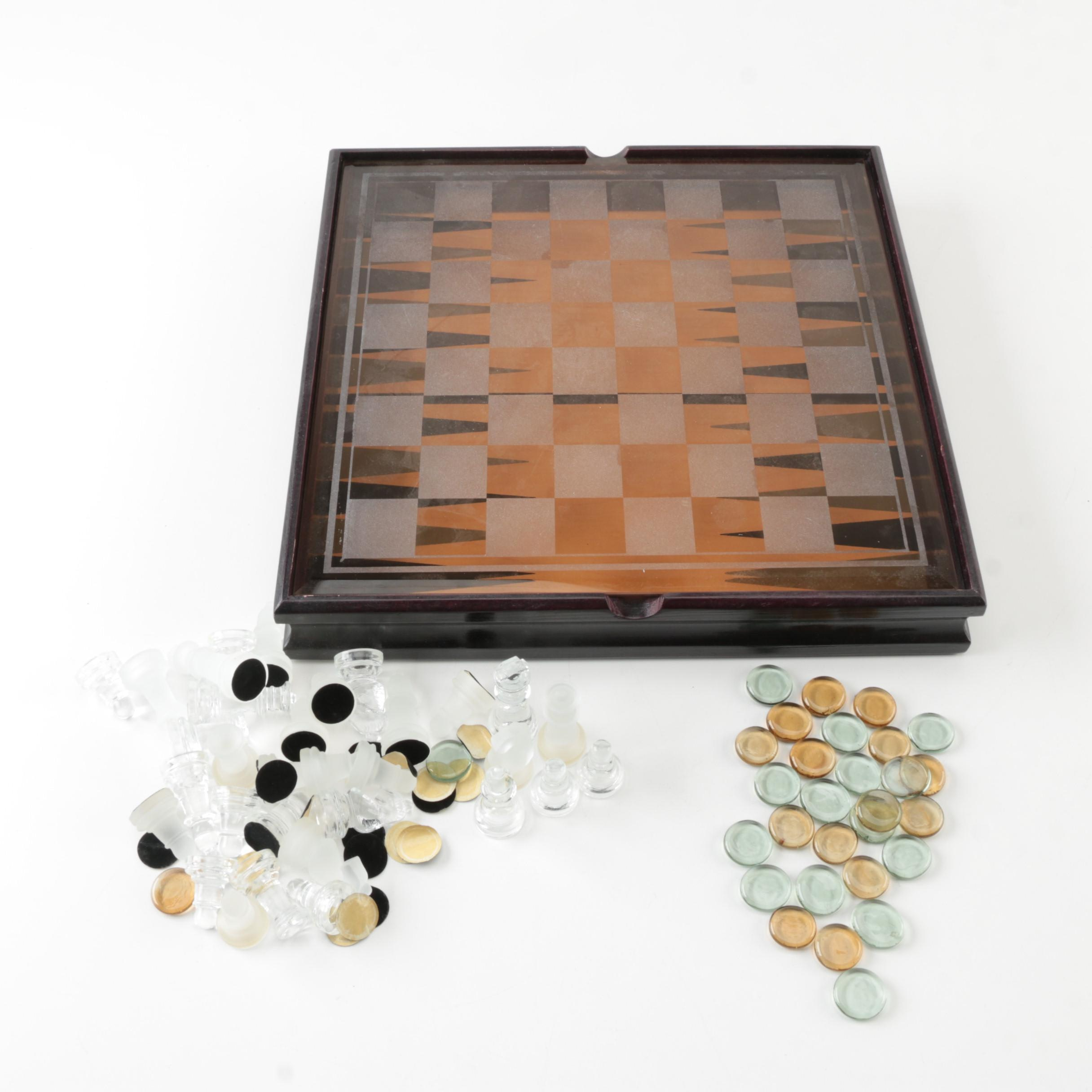 Glass Checkers and Chess Set
