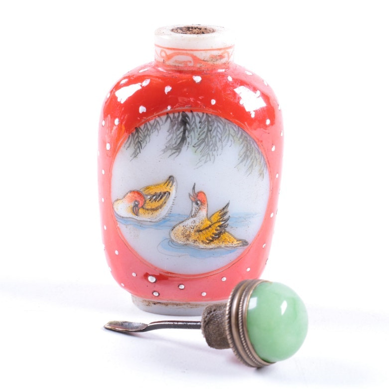 Chinese Quartz Snuff Bottle with Painted Birds