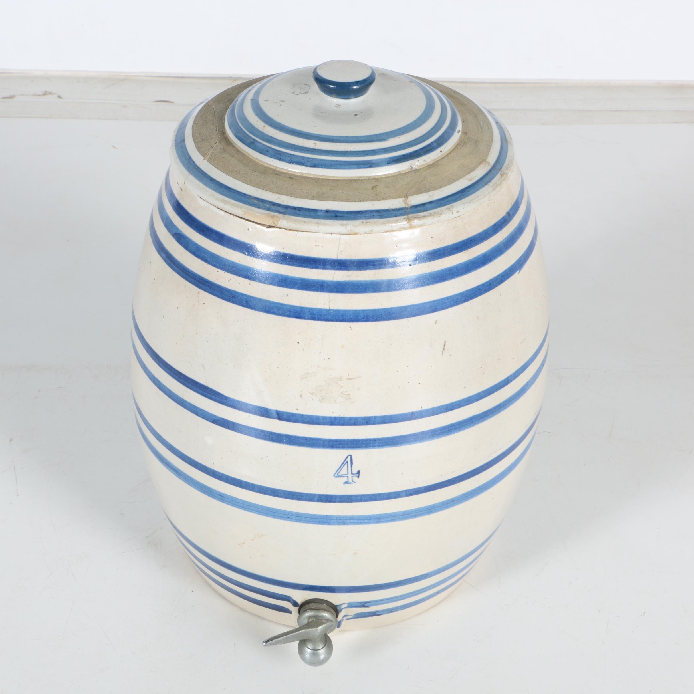 Vintage Blue Striped Stoneware Cooler with Spigot