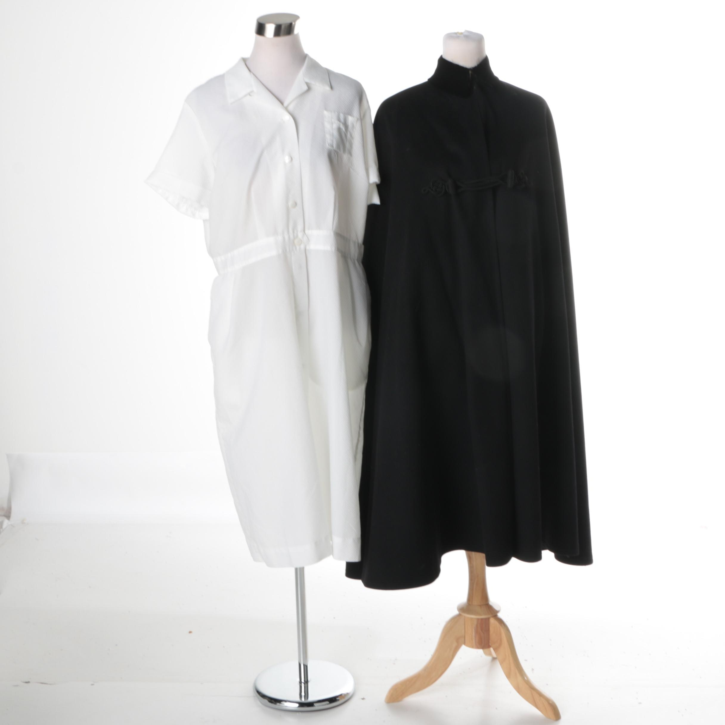 Vintage Nursing Uniform Dress and Black Wool Cape