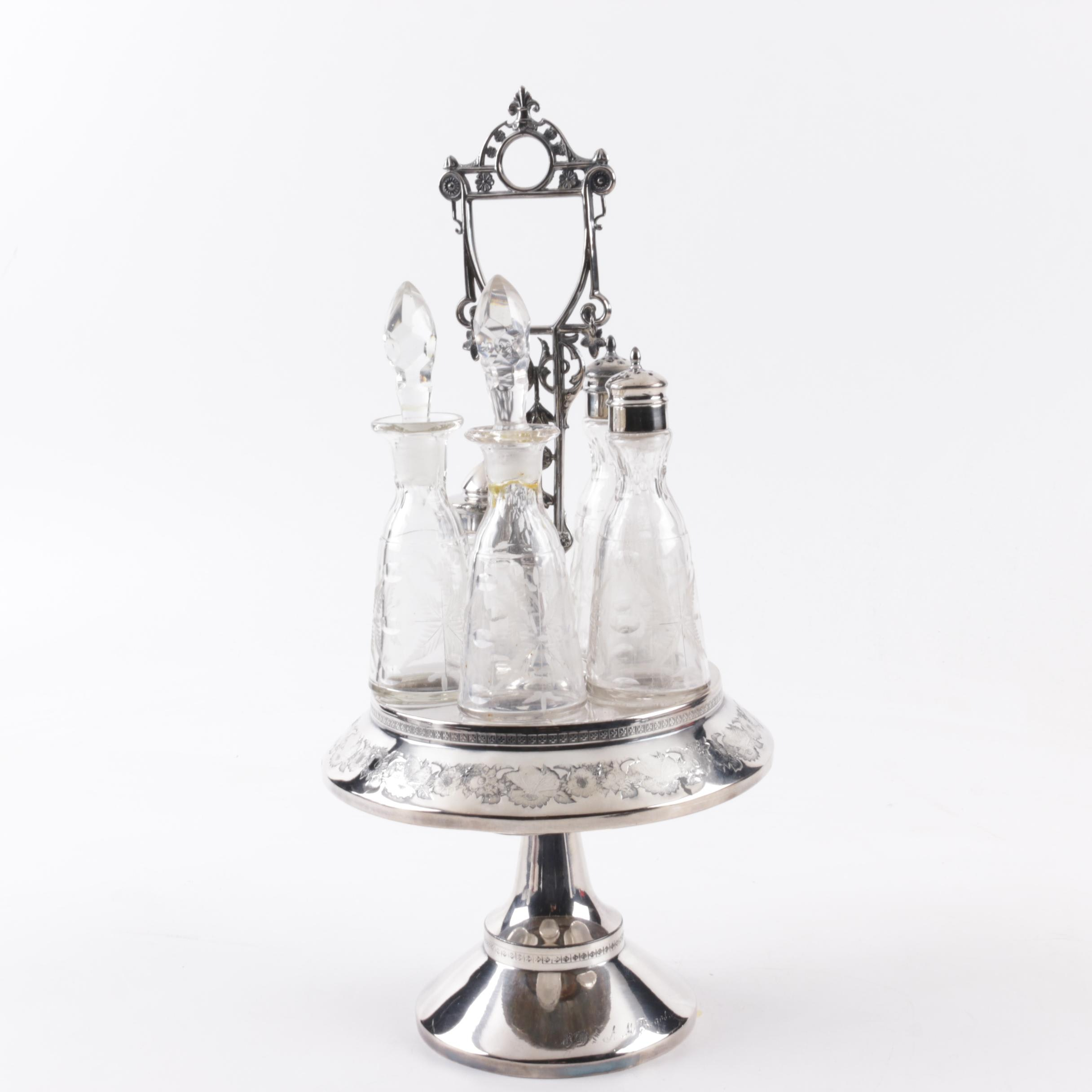 Victorian Era E. G. Webster & Bro. Silver Plate Cruet Set with Bottles