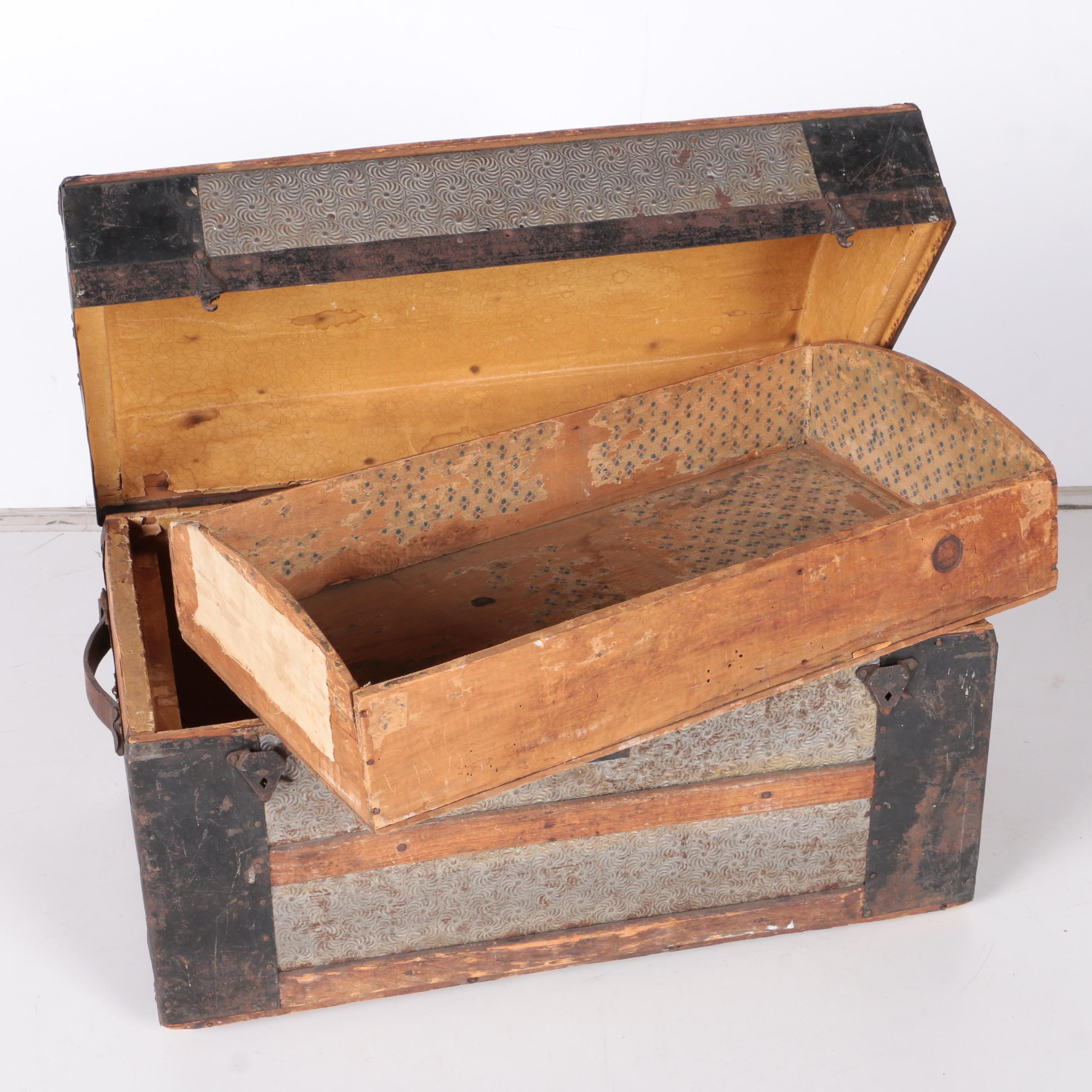 Antique Wood and Metal Trunk