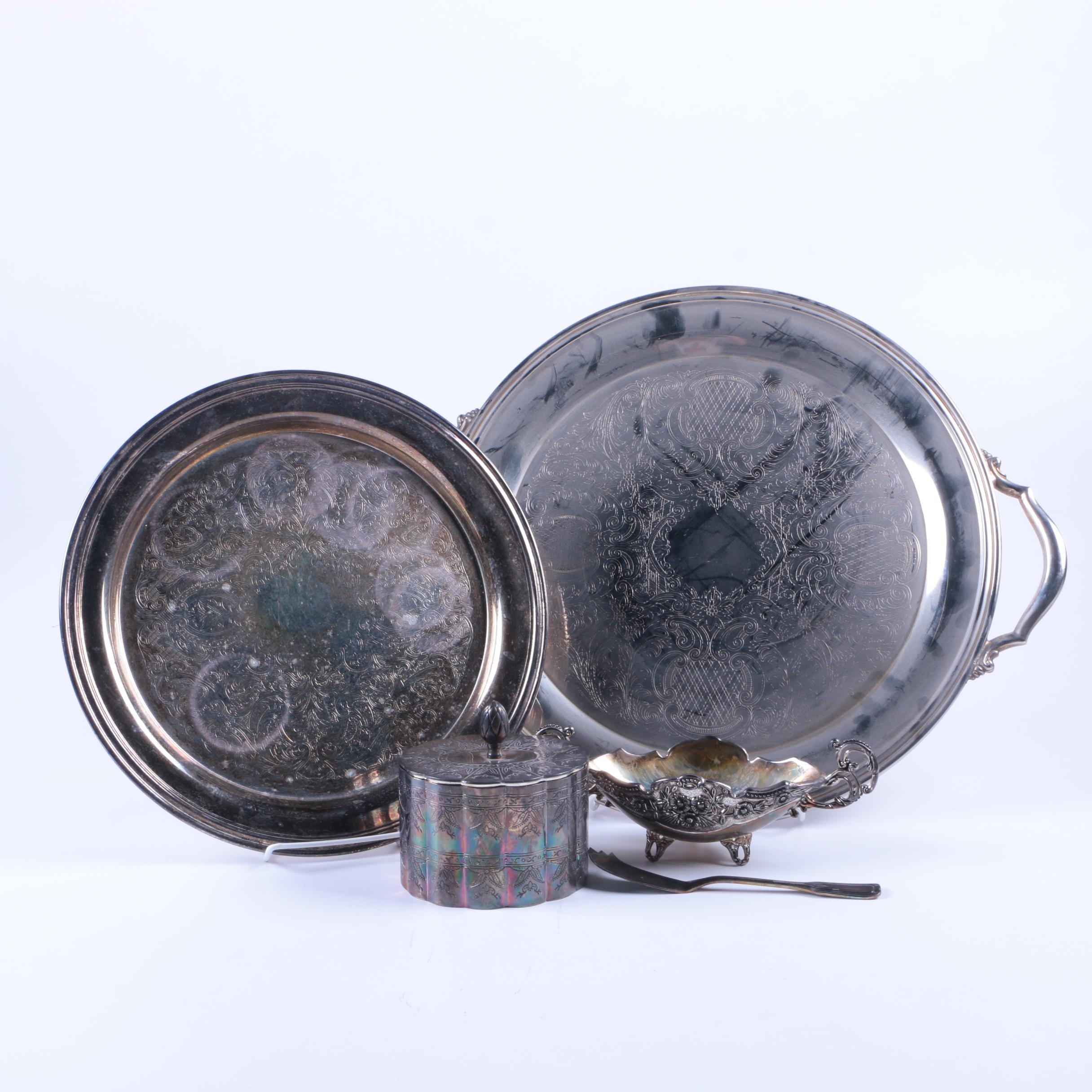 Oneida and Other Decorative Silver Plate Tableware