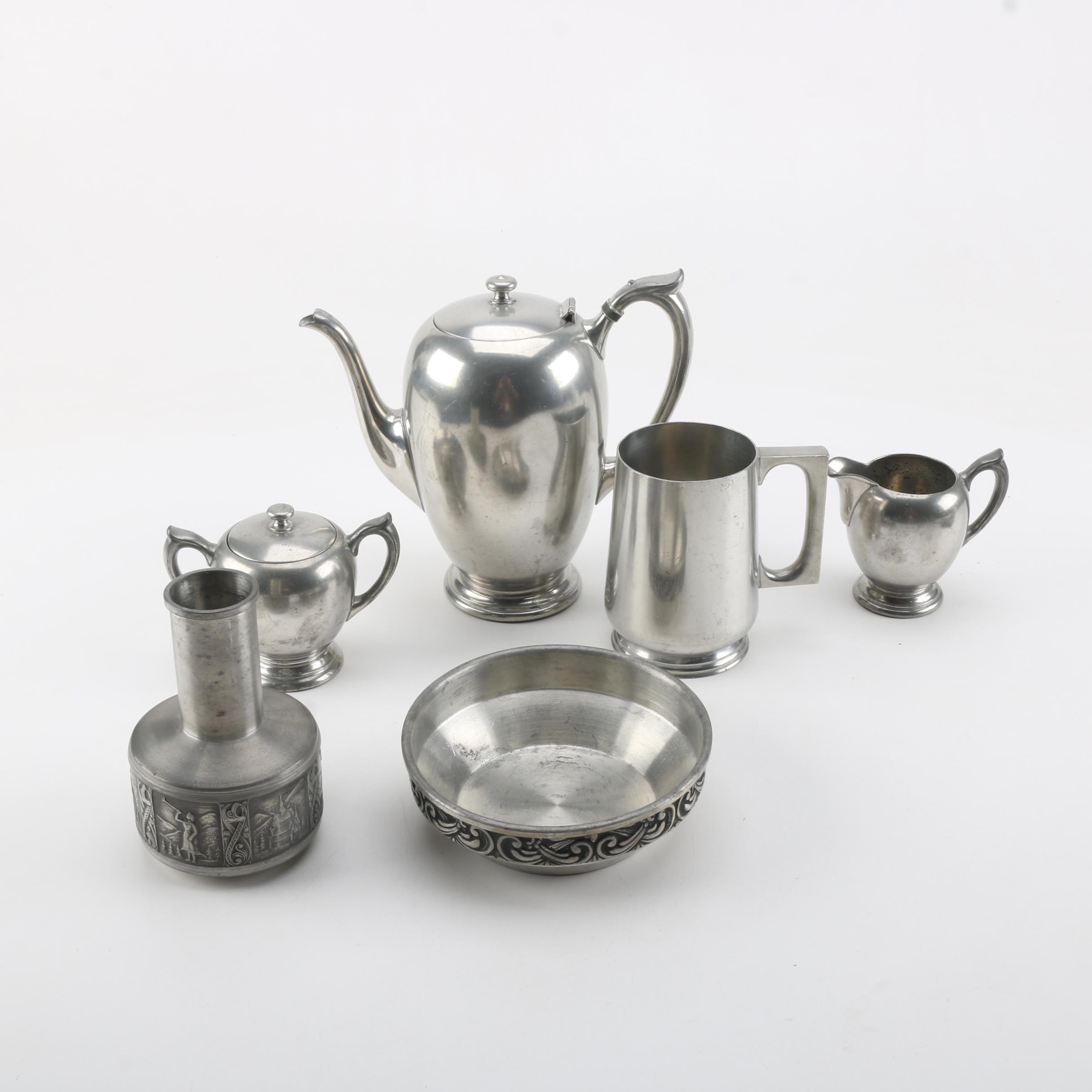 Pewter Serveware and Decor Featuring Poole and Kyrre Norsk Tinn