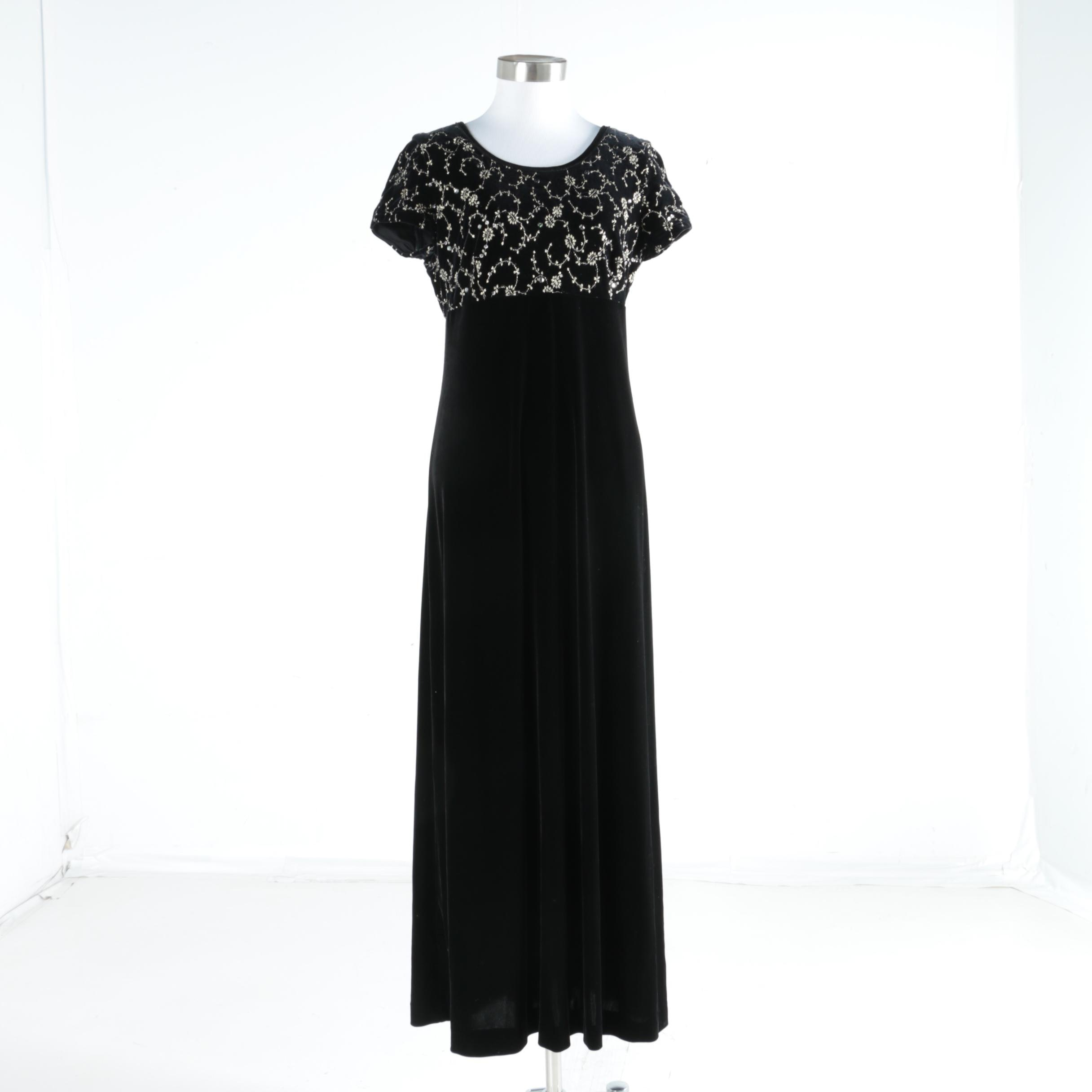 Coffield & Co Embroidered Black Dress