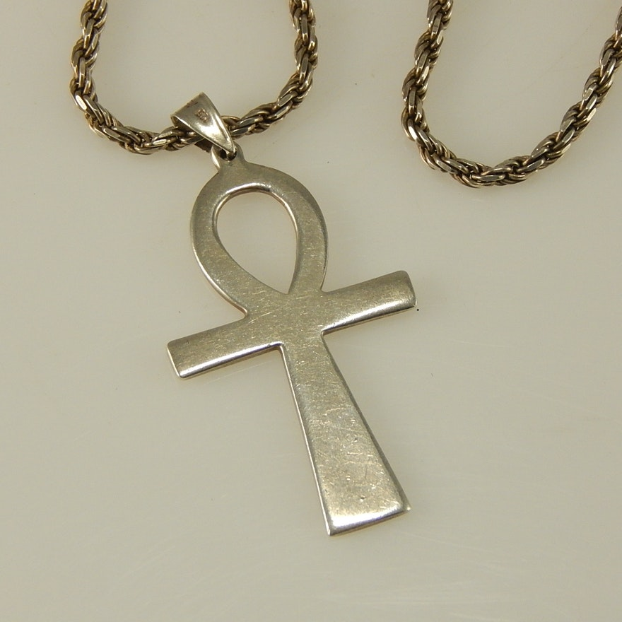 Sterling silver ankh pendant and 17 chain necklace ebth sterling silver ankh pendant and 17 chain necklace aloadofball Choice Image