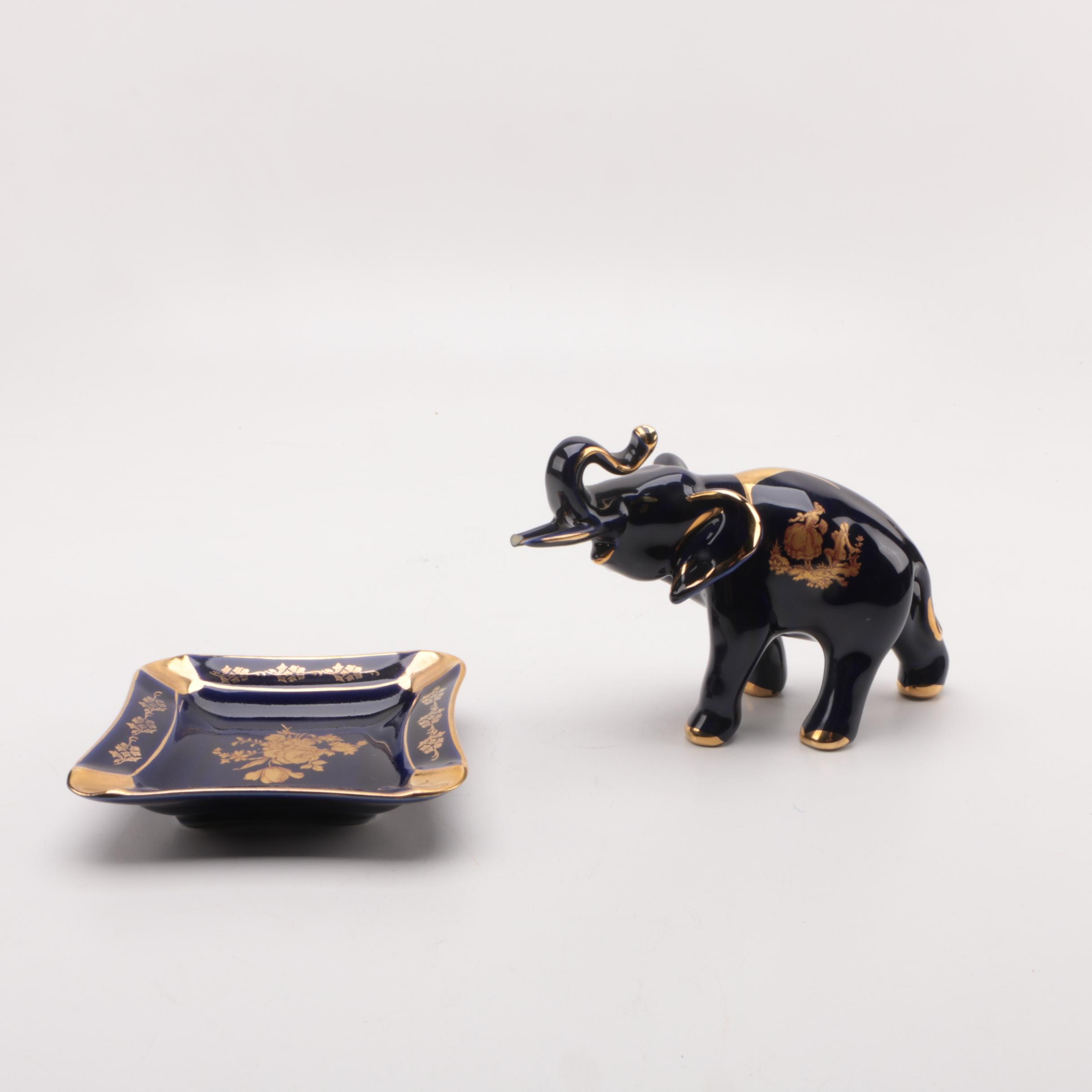 French Limoges Elephant and Dish
