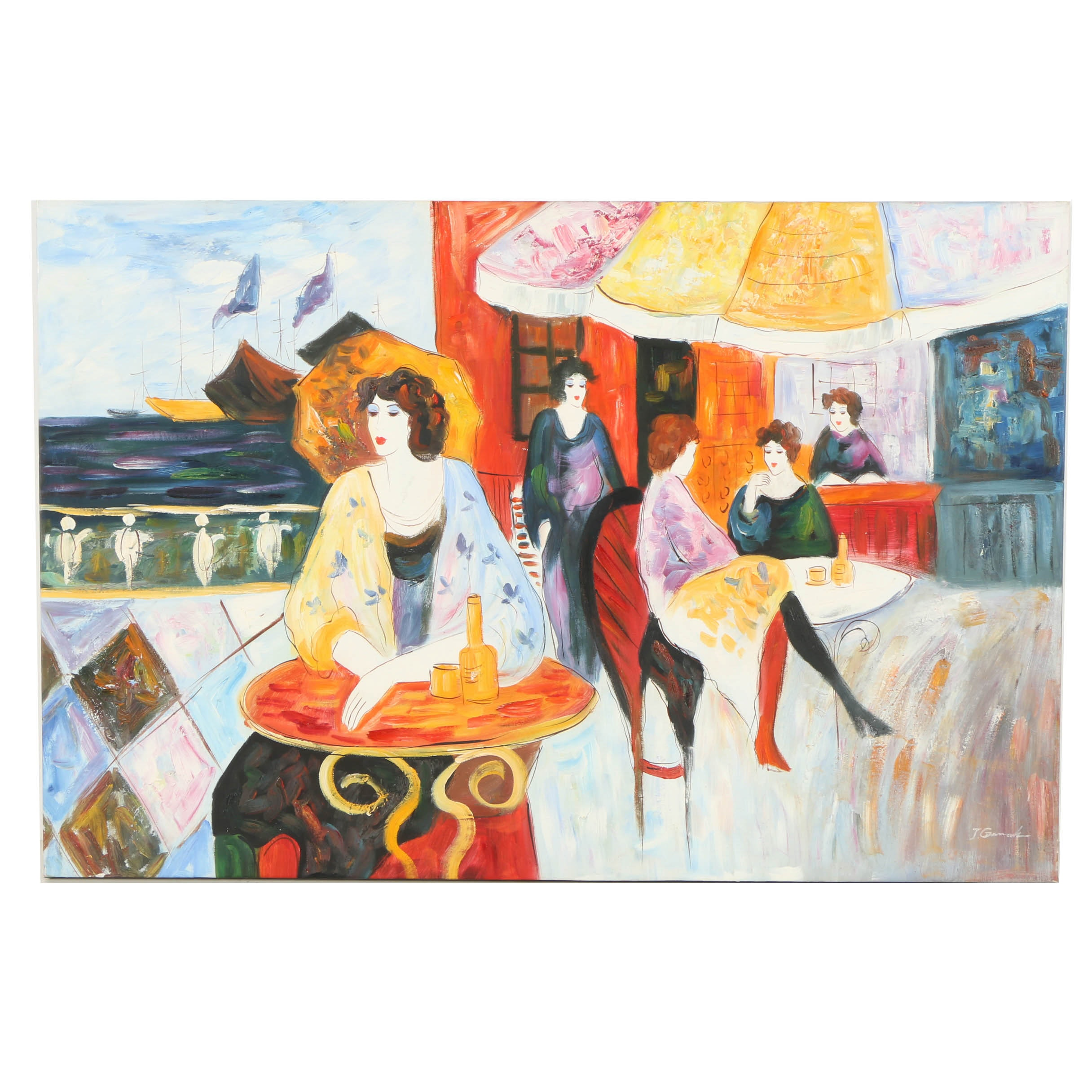 Oil Painting on Canvas of Women at Cafe