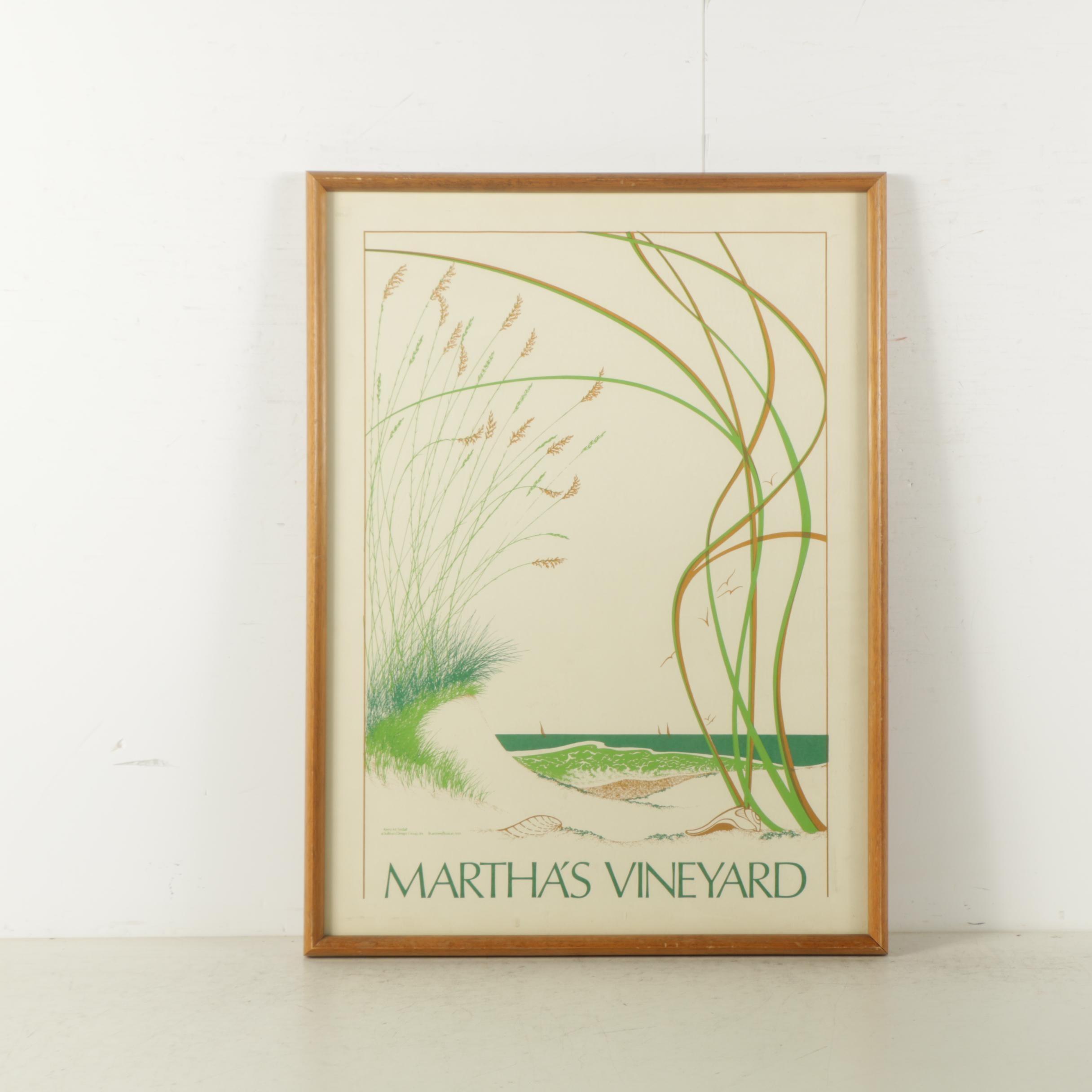 Circa 1980s Martha's Vineyard Serigraph Poster after Kerry M. Tindall