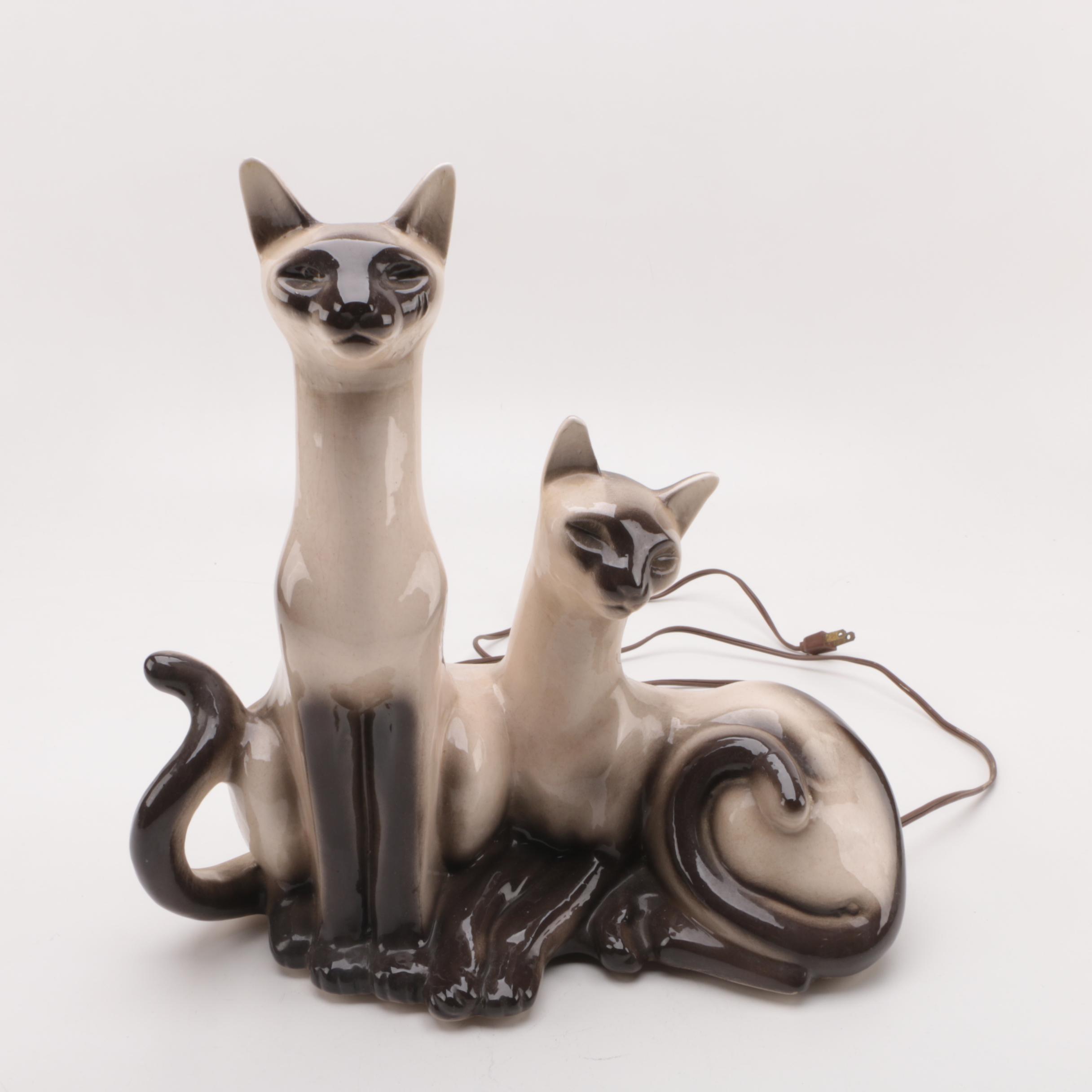 Vintage Ceramic TV Lamp of Siamese Cats