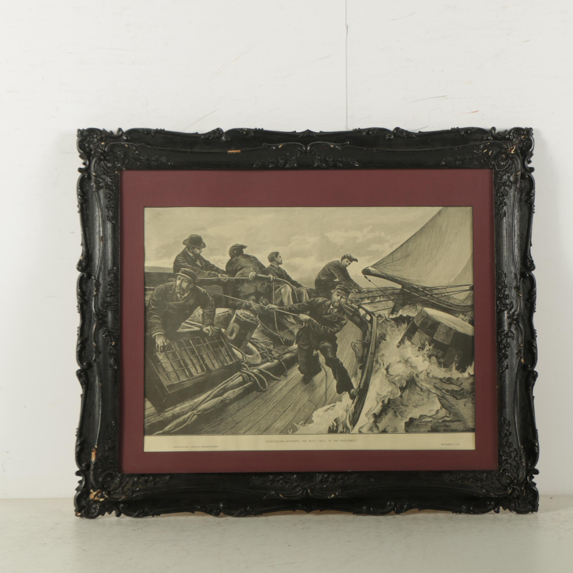 """Woodblock Print on Laid Paper """"Yacht Racing - """"Haul in the Main-Sheet"""""""""""