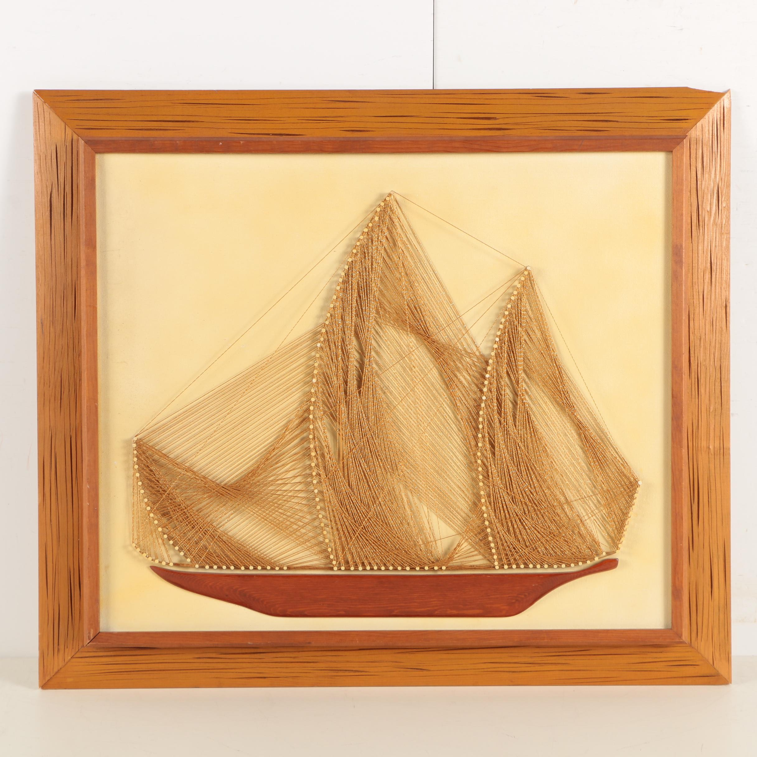 Nicholas V. DeAngelo String Art on Canvas Board of Sailboat