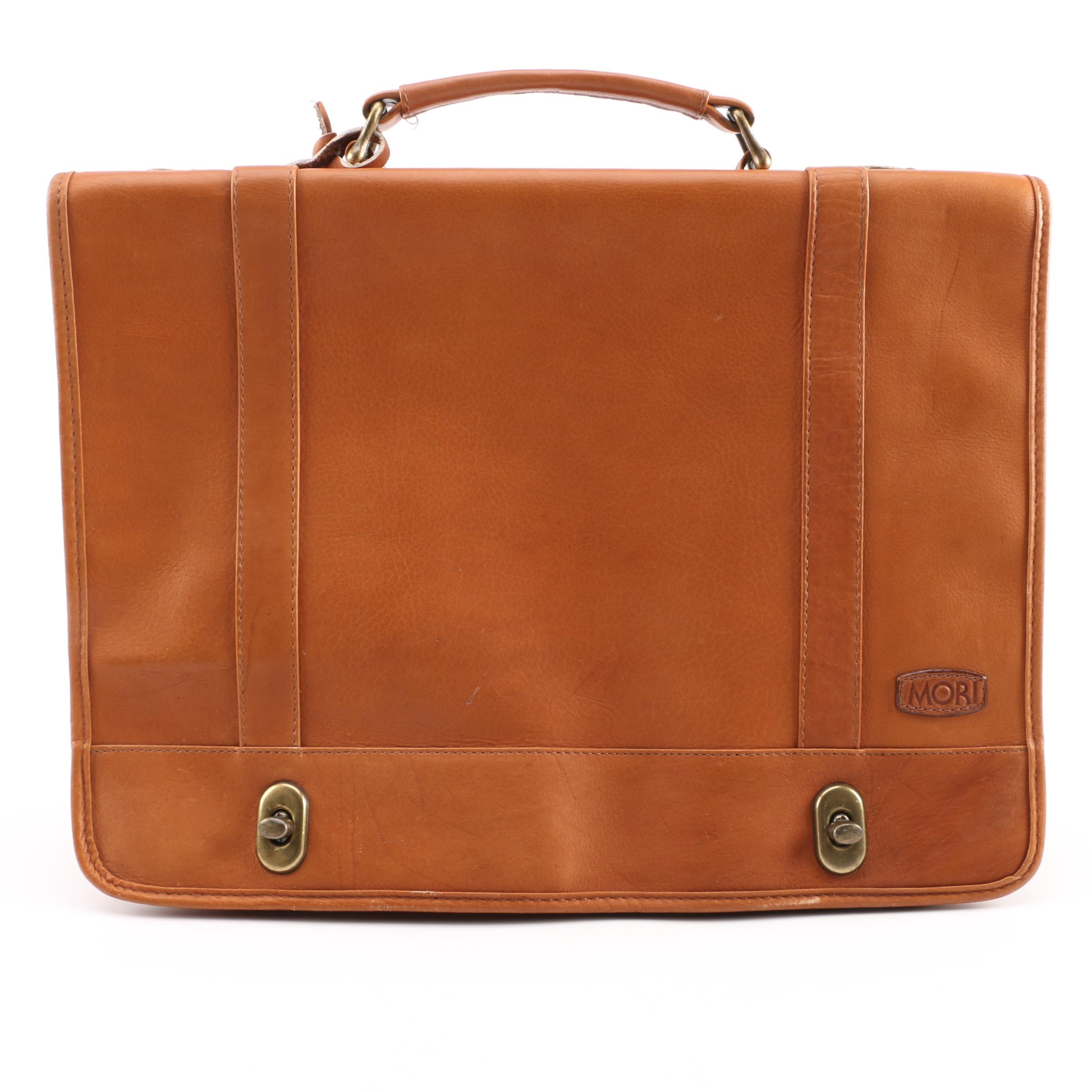 Mori Tan Leather Briefcase
