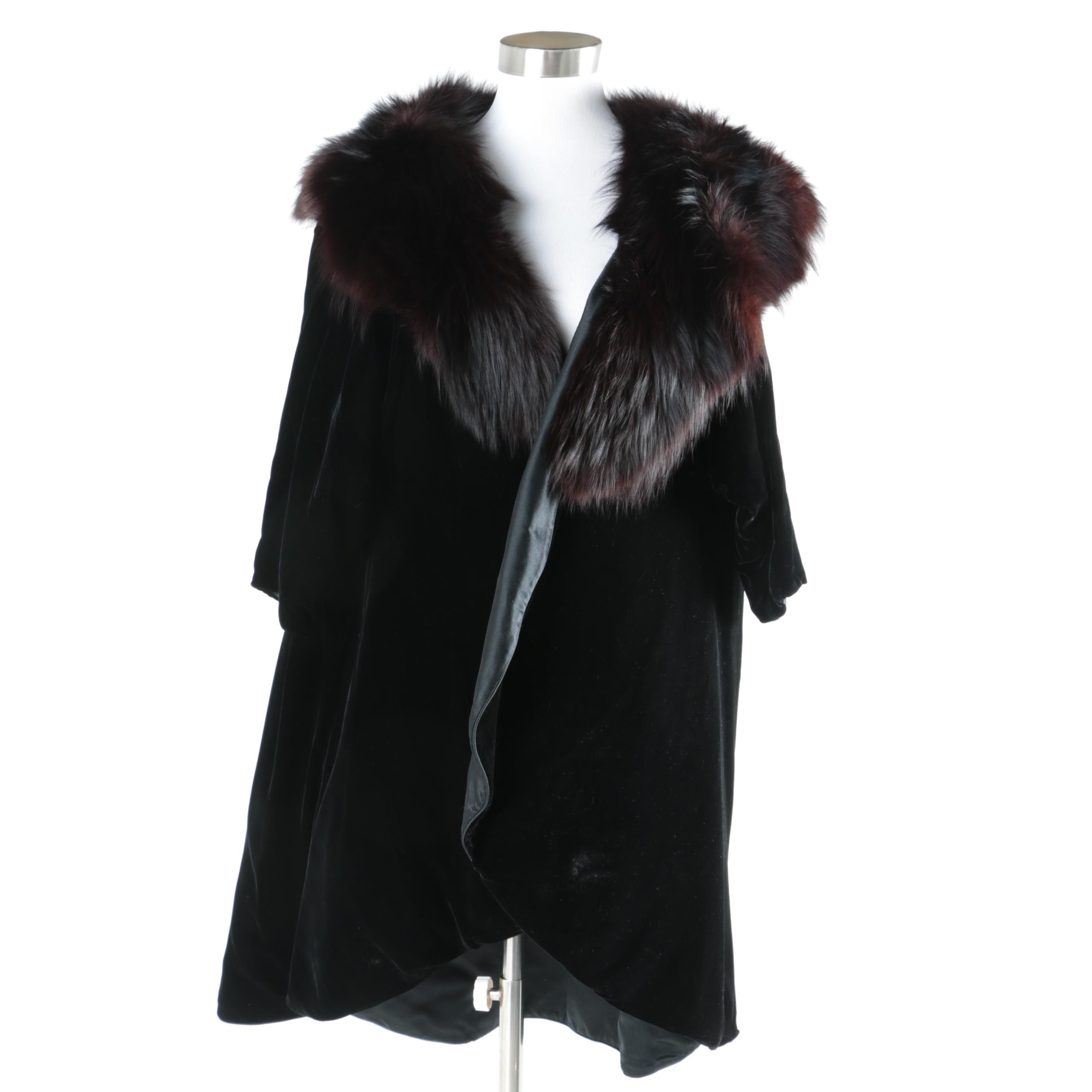 1950s Vintage Mr. Blackwell Designs Black Coat with a Dyed Fox Fur Collar