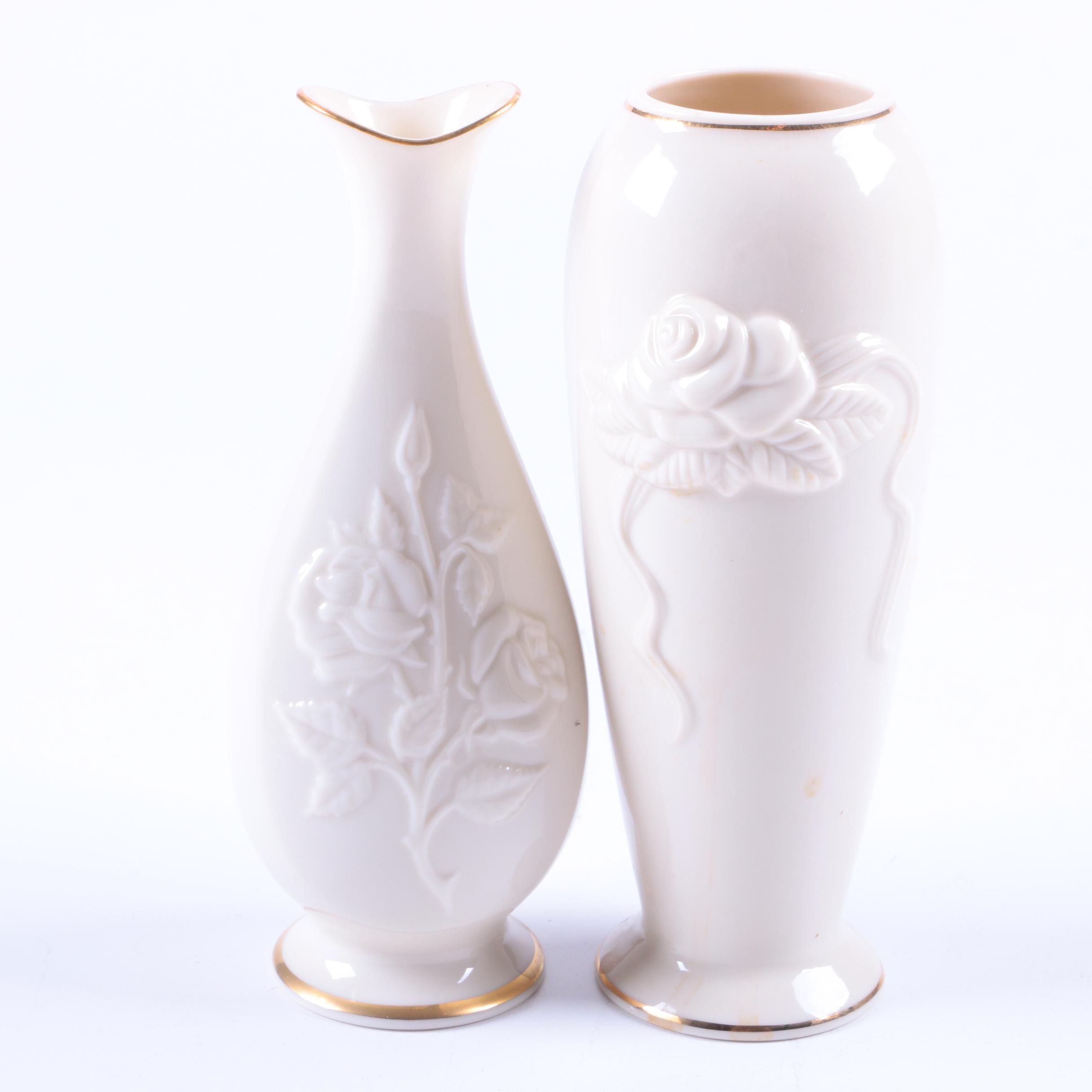 Lenox Porcelain Rose Motif Vases with 24 Karat Gold Trim
