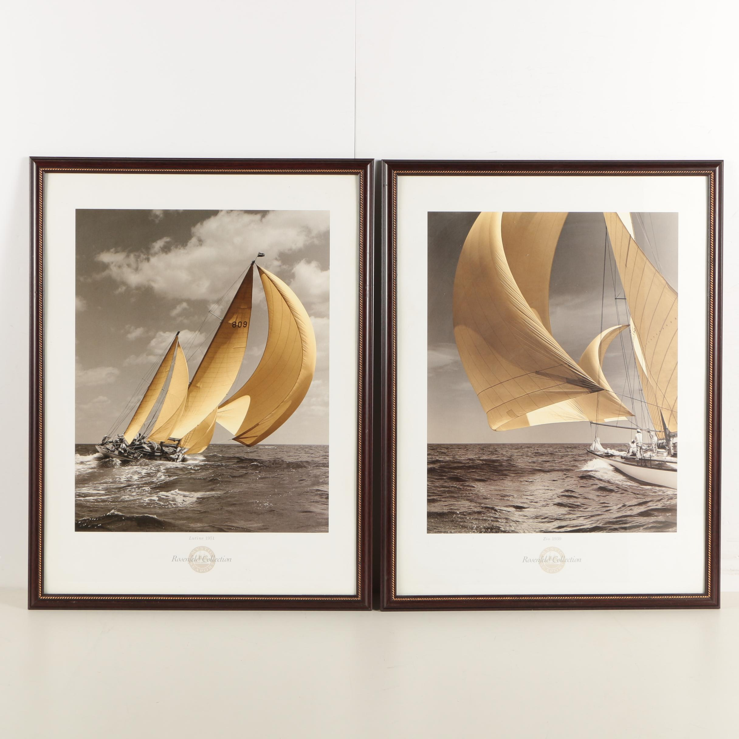 """Offset Lithograph Sailing Prints on Paper """"Zio 1939"""" and """"Lutine 1951"""""""