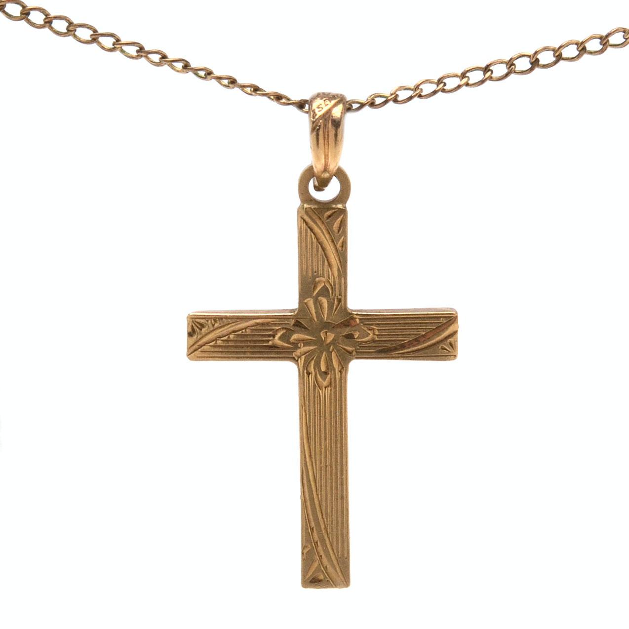 Vintage 10K Esemco Cross Pendant with 14K Gold Chain