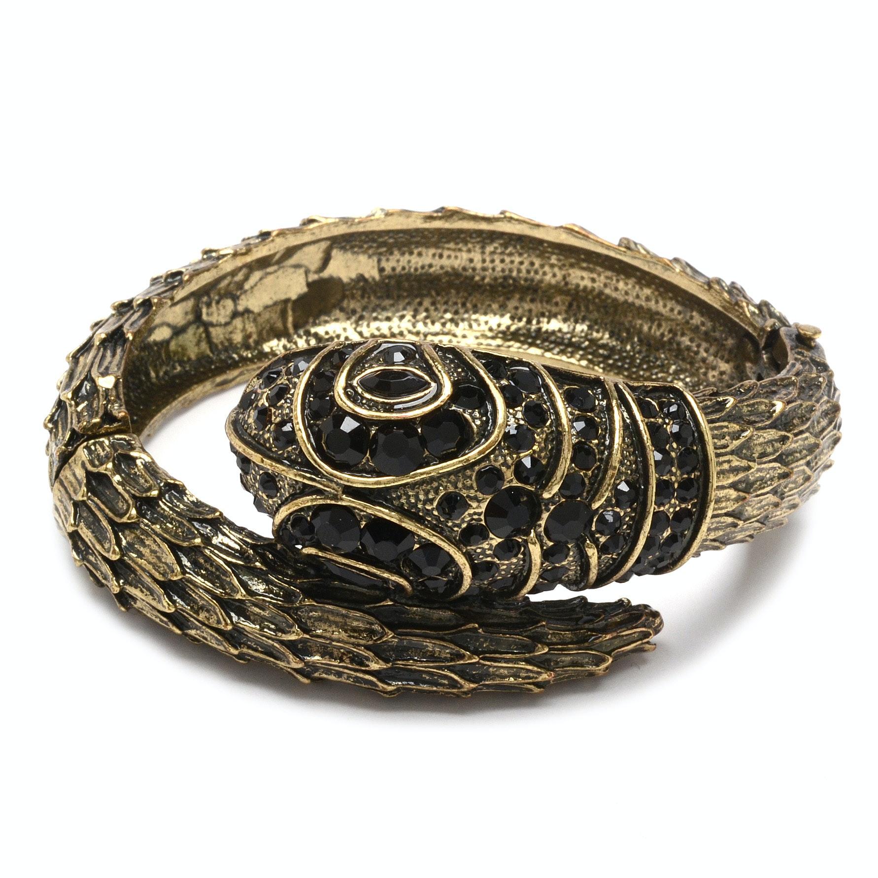 Hinged Serpent Bracelet with Black Rhinestones