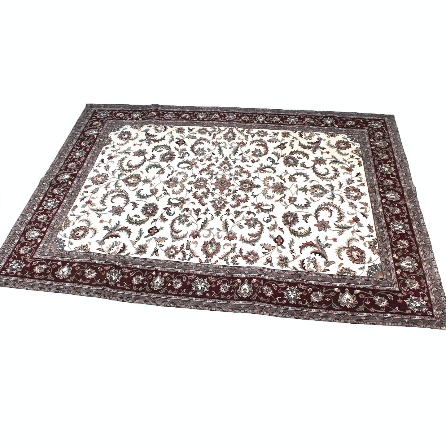 Hand-Knotted Indo-Persian Kashan Room Size Rug