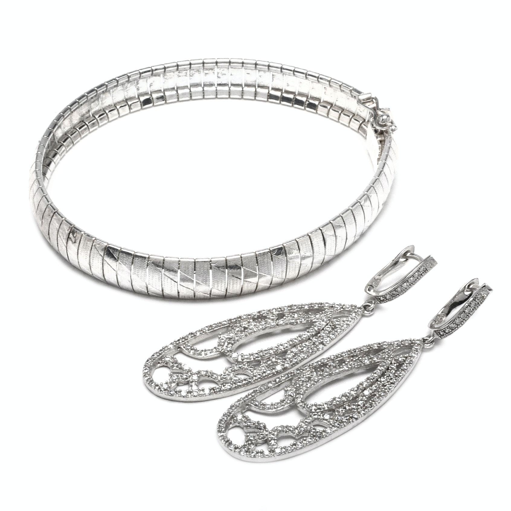Sterling Silver Bracelet and Earrings