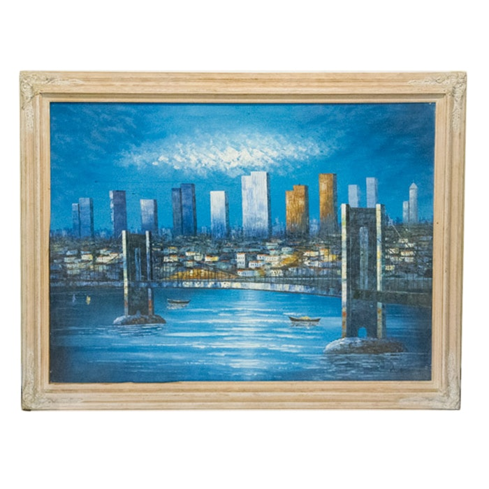 Signed Oil Painting on Canvas Board of Cityscape
