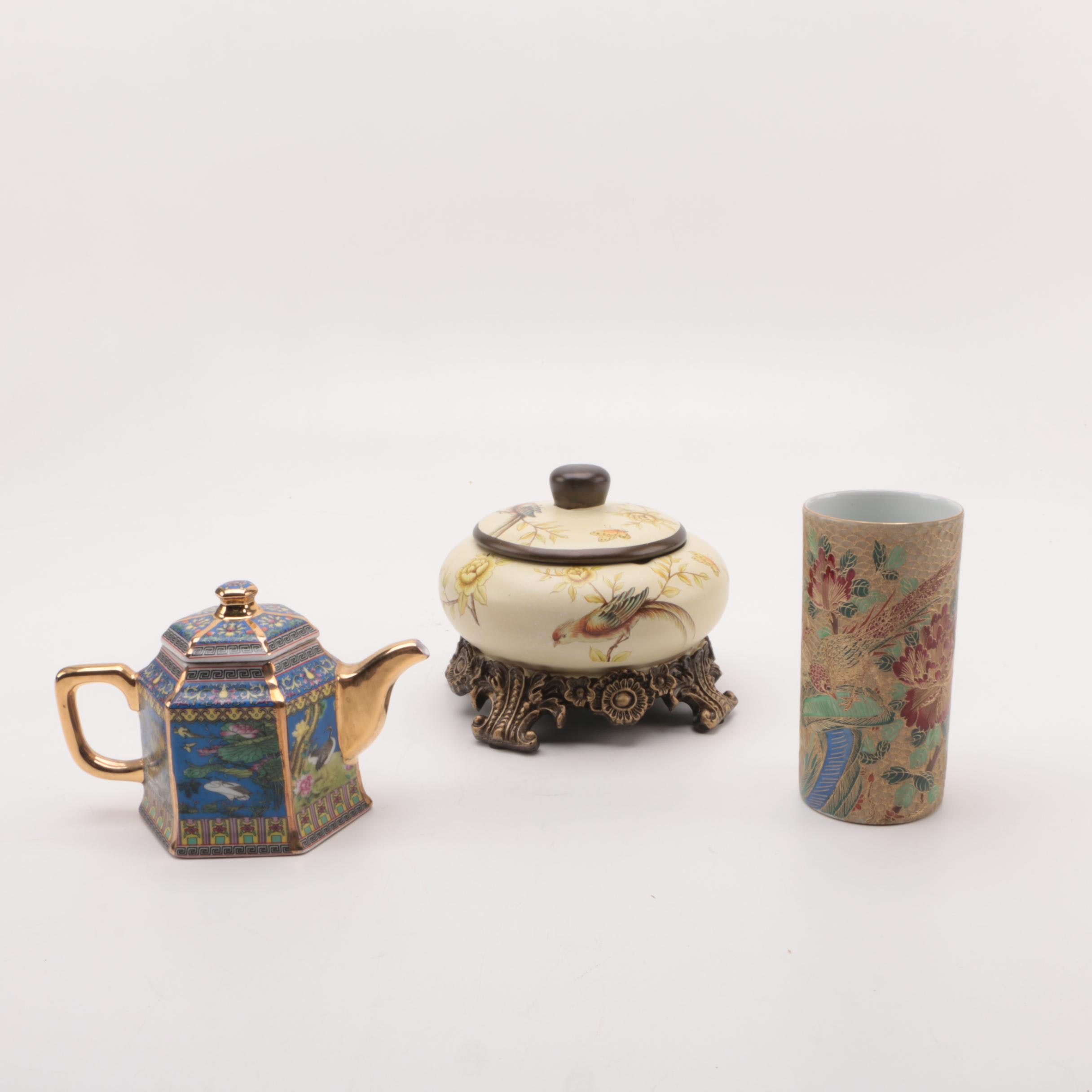 Chinese Porcelain Vase, Teapot and a Lidded Bowl