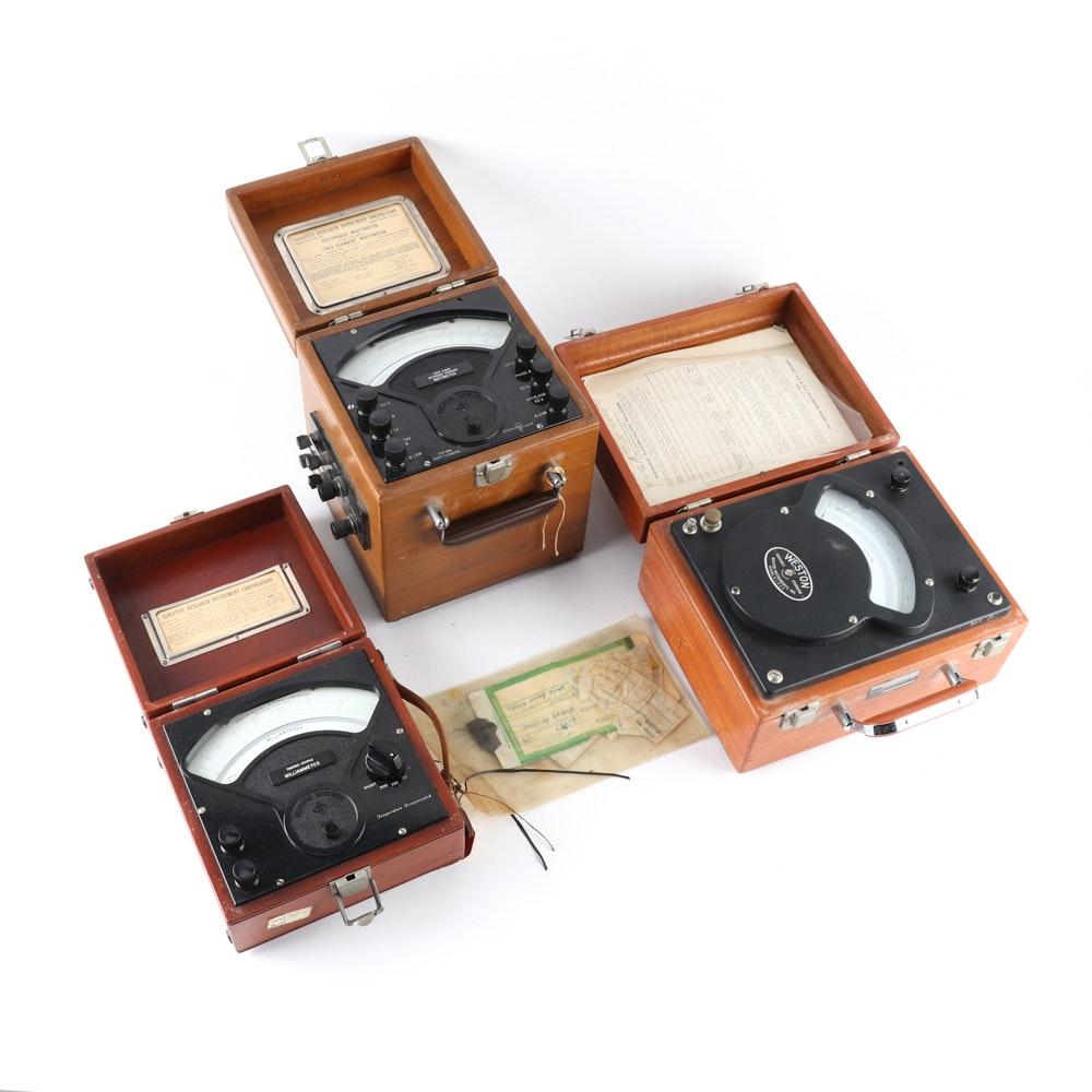 Vintage Electrical Meters Featuring Weston