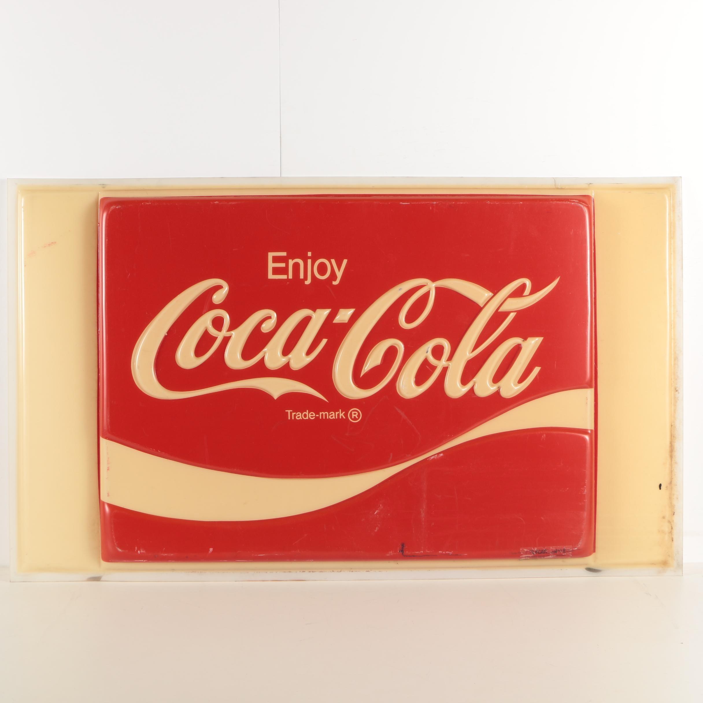 Large Plastic Coca-Cola Advertisement Sign