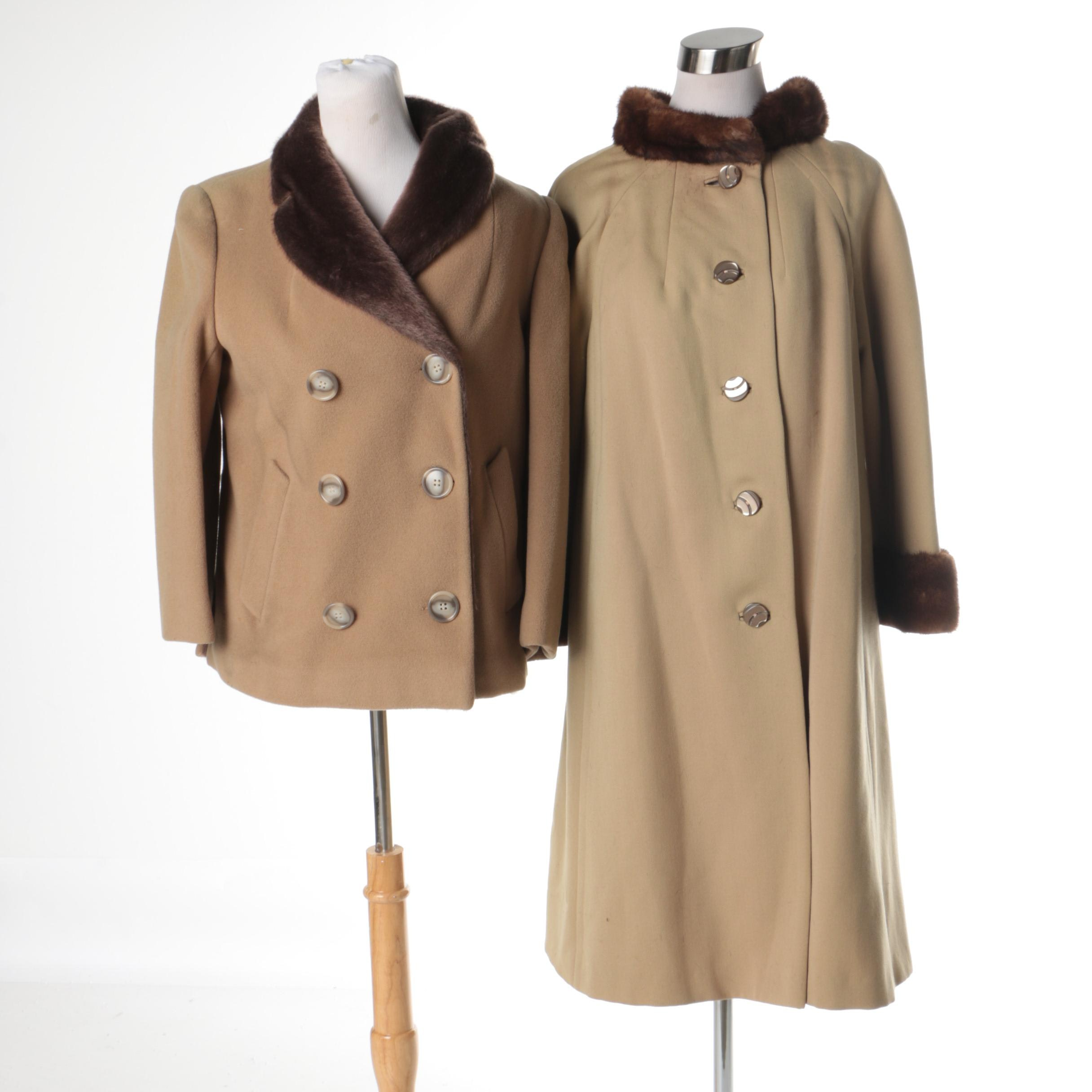 Two Vintage Tan Coats with Mink Fur and Faux Fur Trim