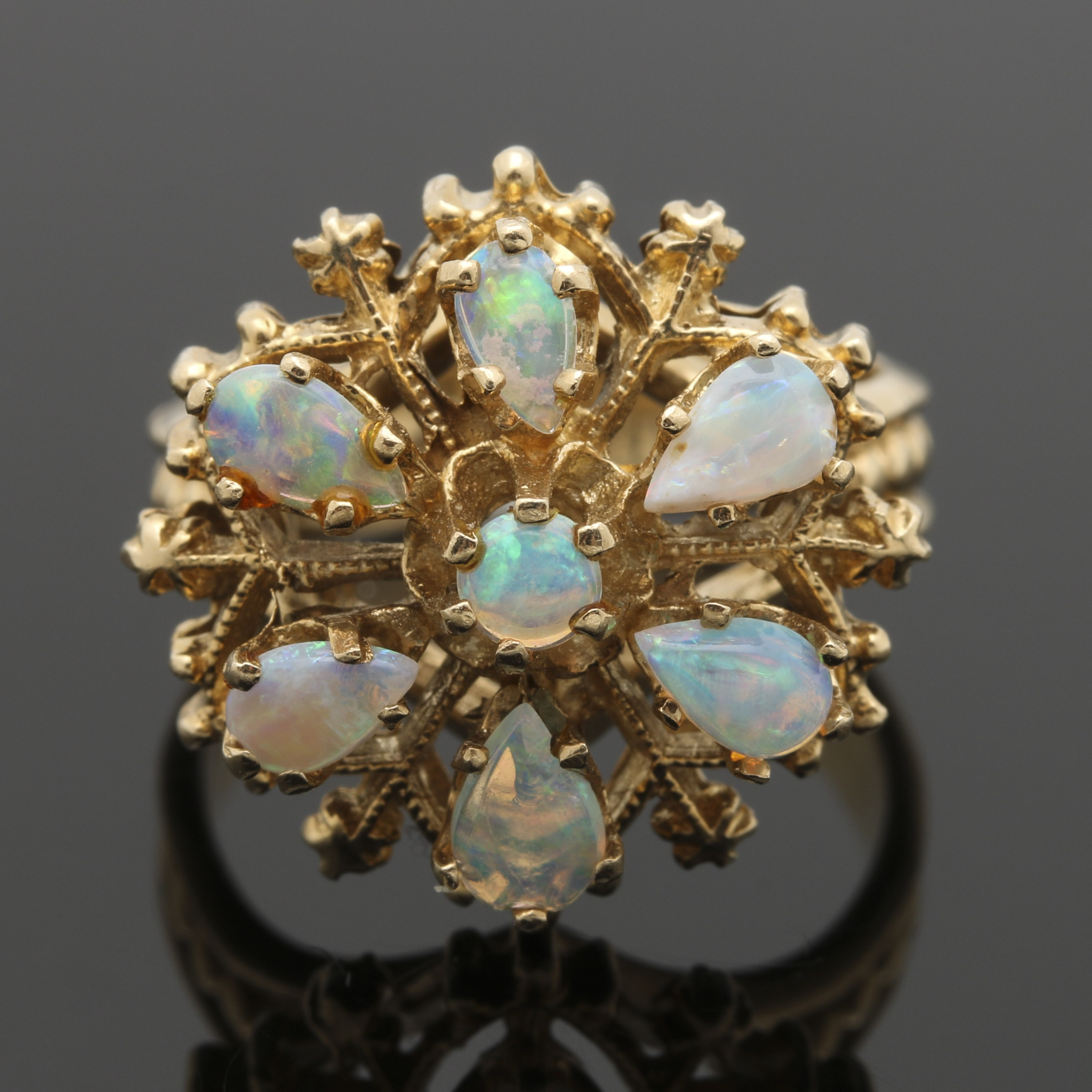 14K Yellow Gold Opal Flower Motif Ring