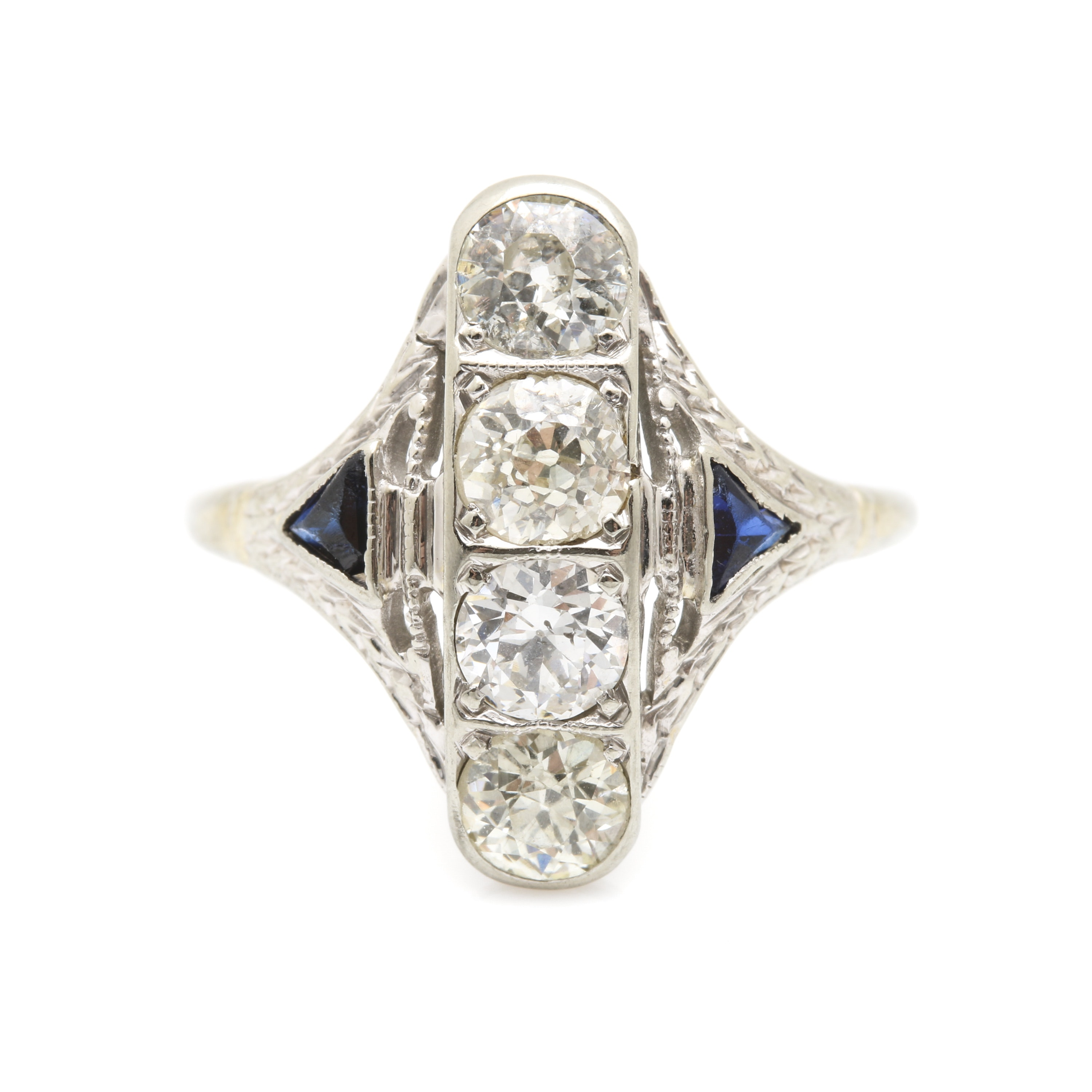 Art Deco 18K White Gold 0.89 CTW Diamond and Sapphire Ring